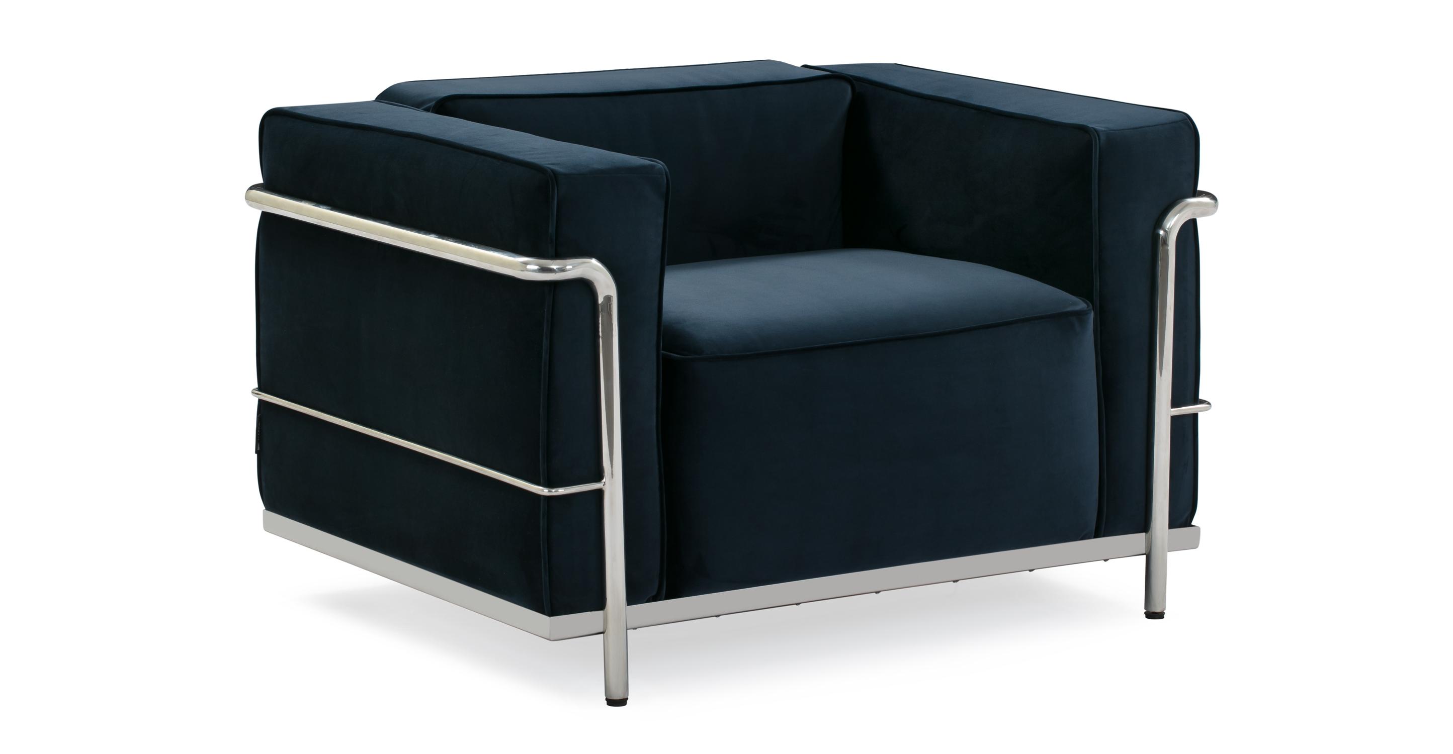 """Roche 39"""" Fabric Chair, Royal Blue Velvet"""