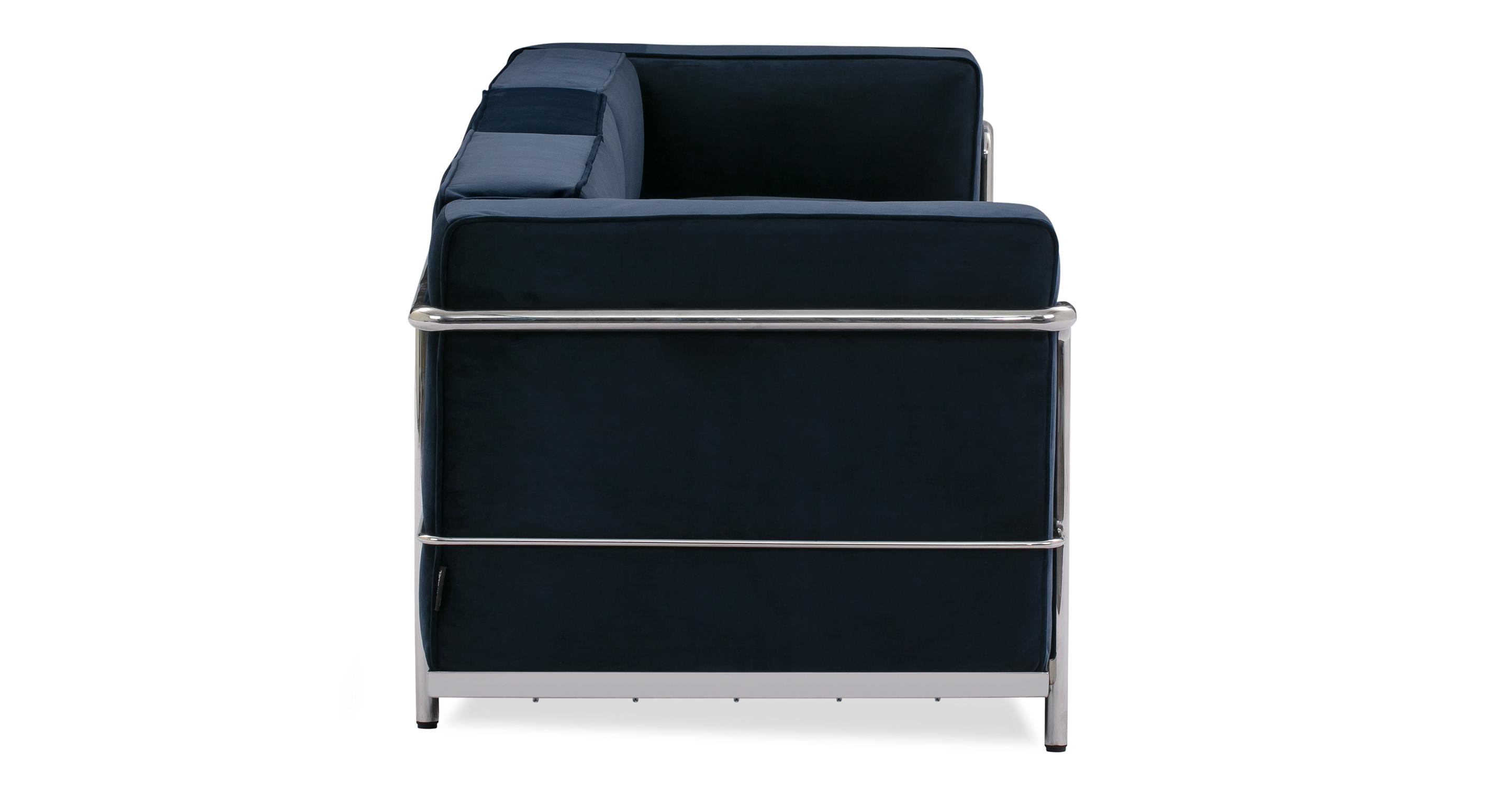 """Roche 89"""" Fabric Sofa, Royal Blue Velvet"""