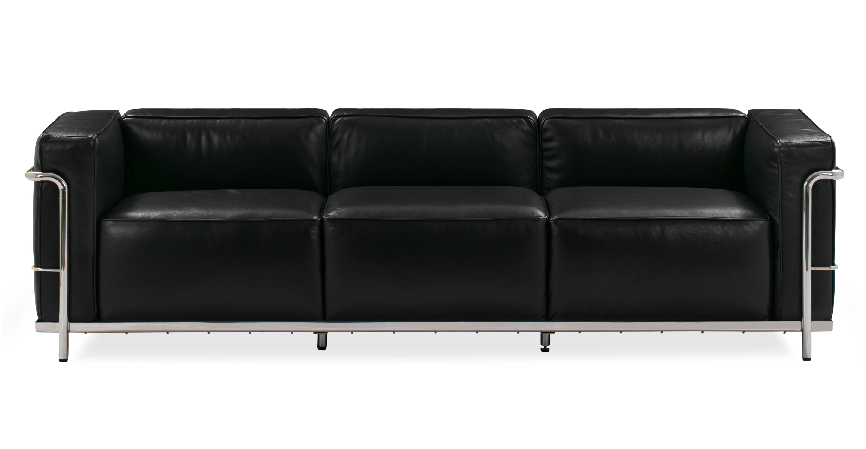 "Roche 89"" Leather Sofa, Black"