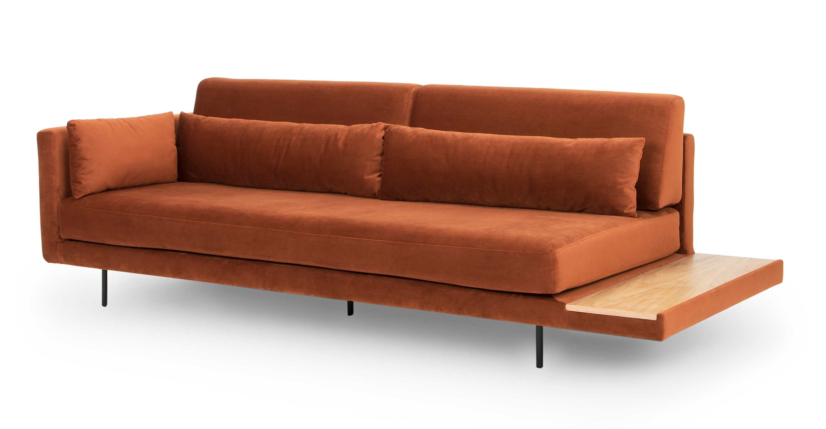 """Davenport 95"""" Sofa Sleeper, Rust Velvet"""