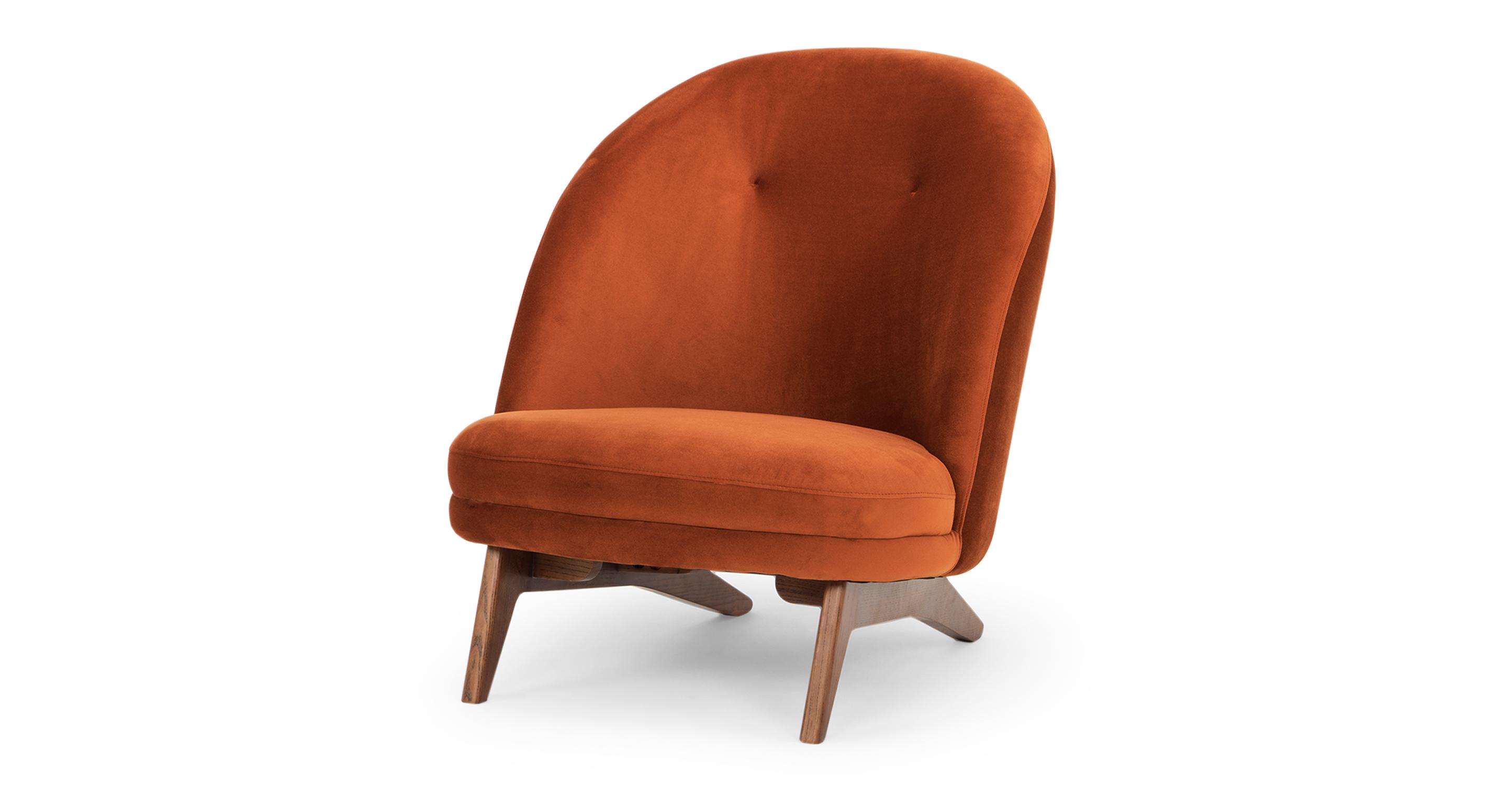 """Leon 28"""" Fabric Chair, Rust Velvet"""
