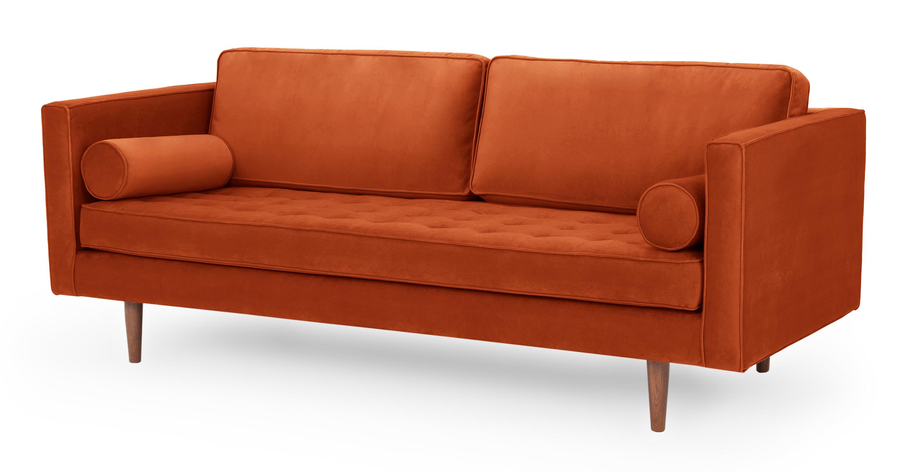 """Dwell 81"""" Sofa, Rust Velvet"""