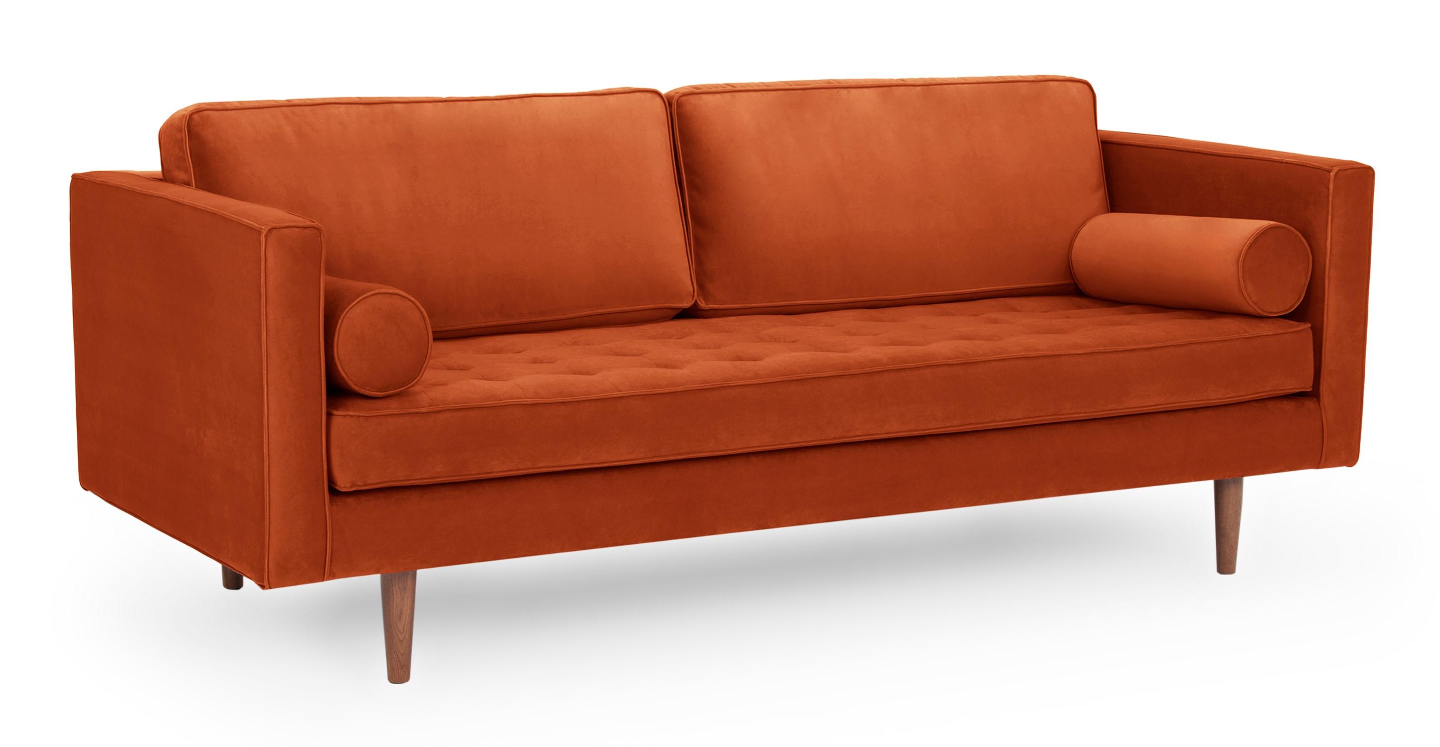 "Dwell 81"" Fabric Sofa, Rust Velvet"