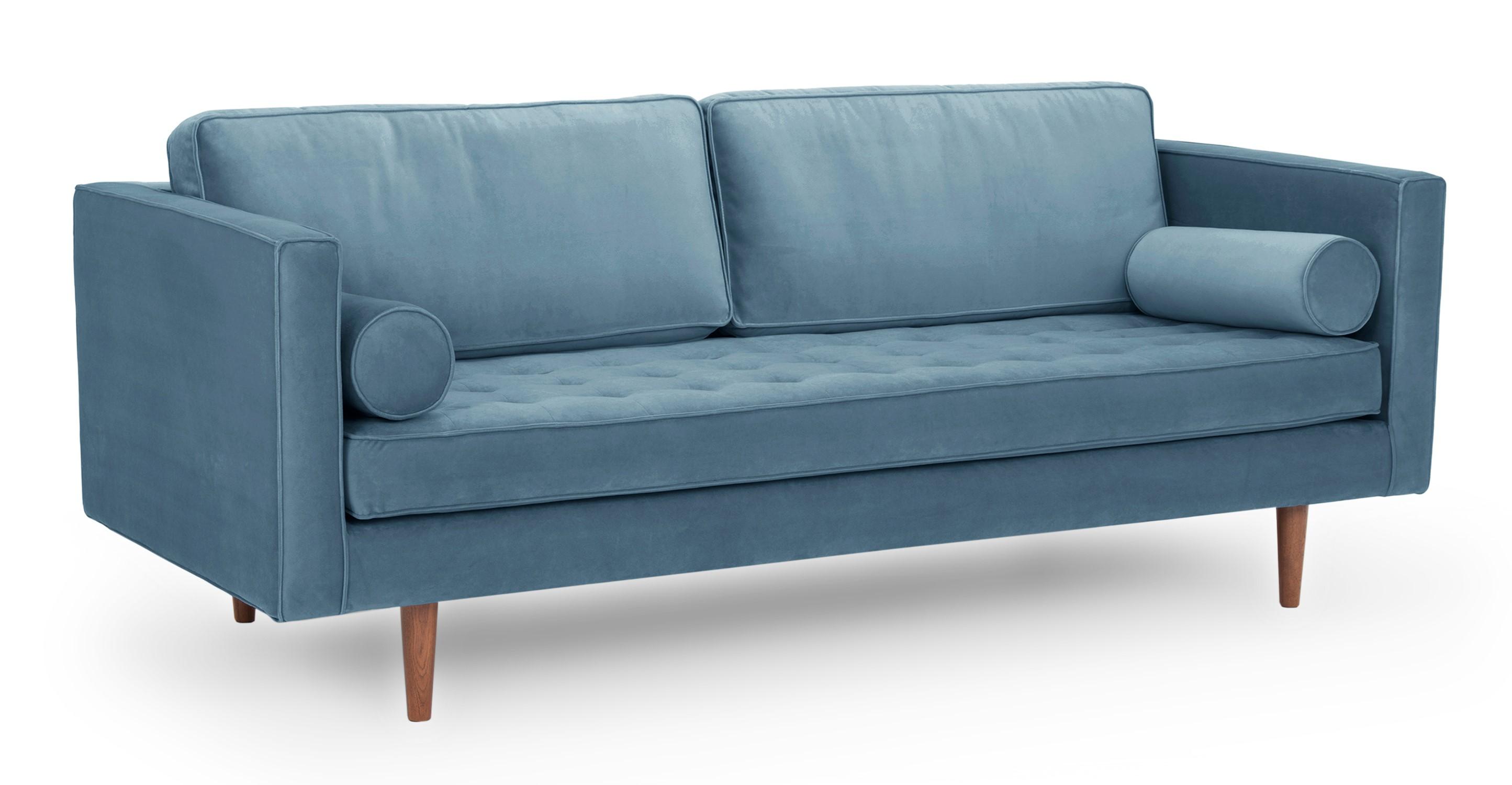 """Dwell 81"""" Fabric Sofa, Celestial Velvet"""