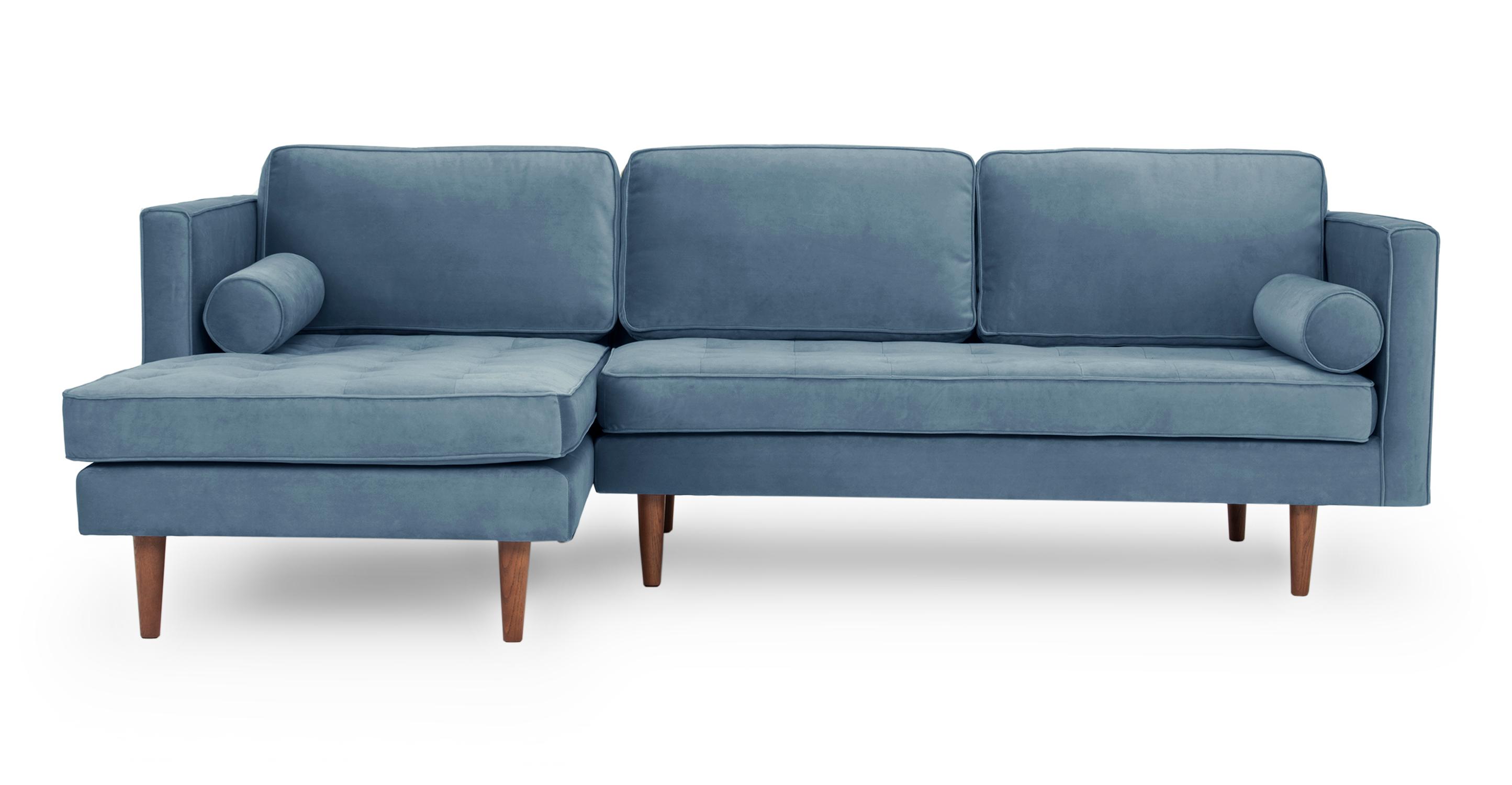 """Dwell 98"""" Fabric Sofa Sectional Left, Celestial Velvet"""