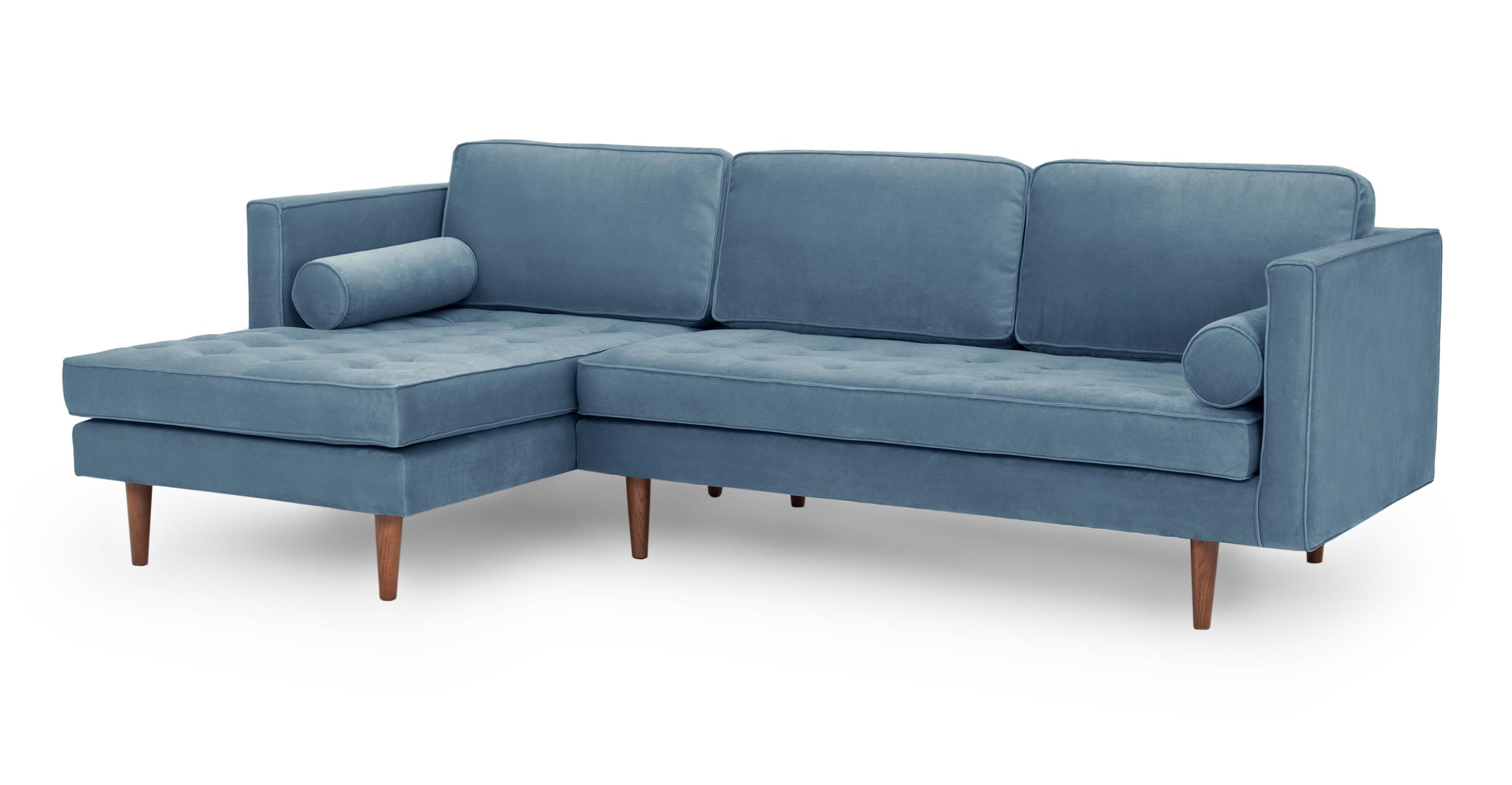 """Dwell 98"""" Sofa Sectional Left, Celestial Velvet"""