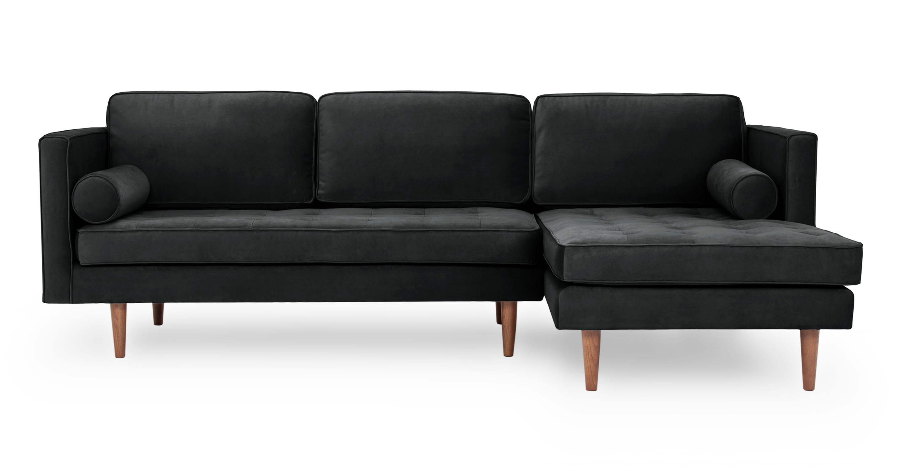 """Dwell 98"""" Fabric Sofa Sectional Right, Anchor Velvet"""