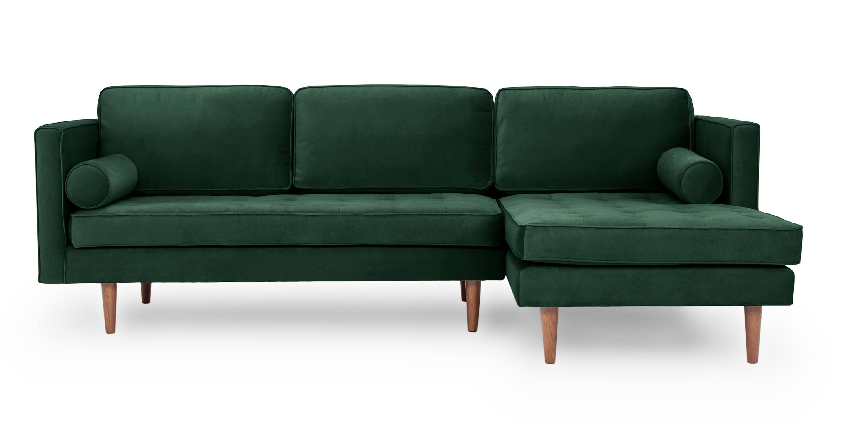 """Dwell 98"""" Fabric Sofa Sectional Right, Shamrock Velvet"""
