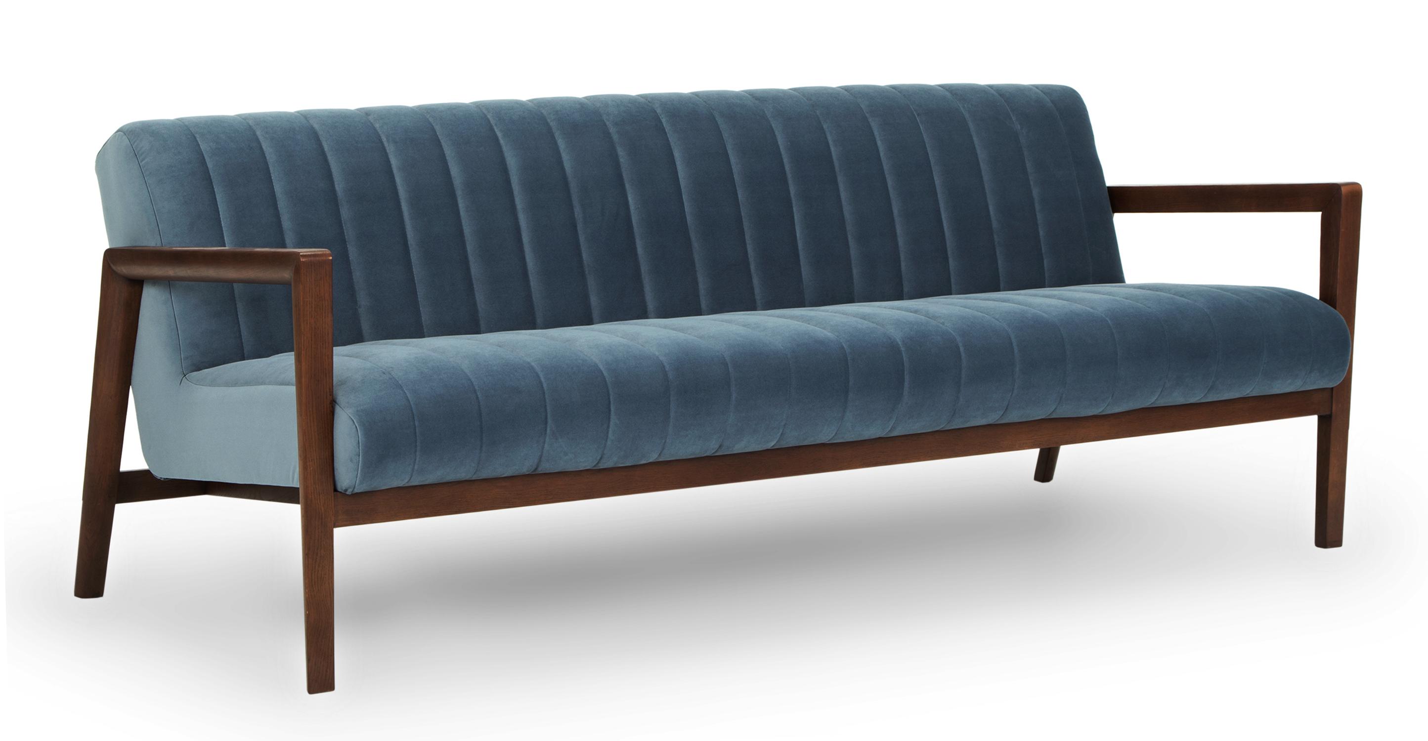 """Biknit 78"""" Fabric Sofa, Celestial Velvet"""