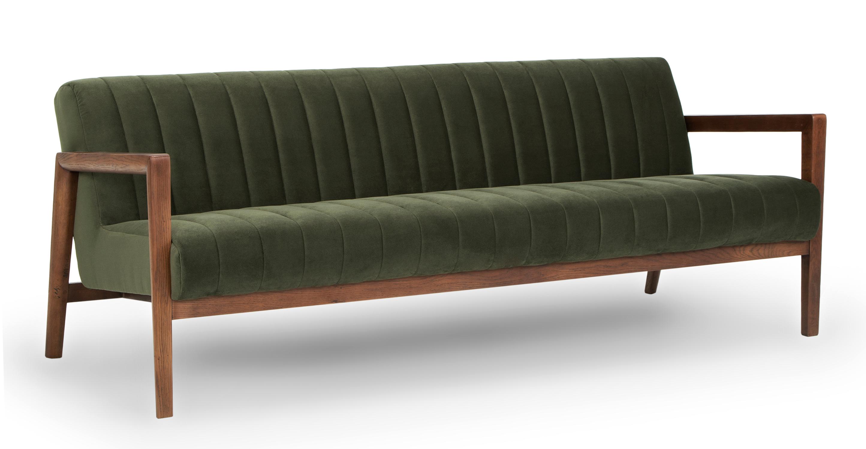 "Biknit 78"" Fabric Sofa, Hunter Green"