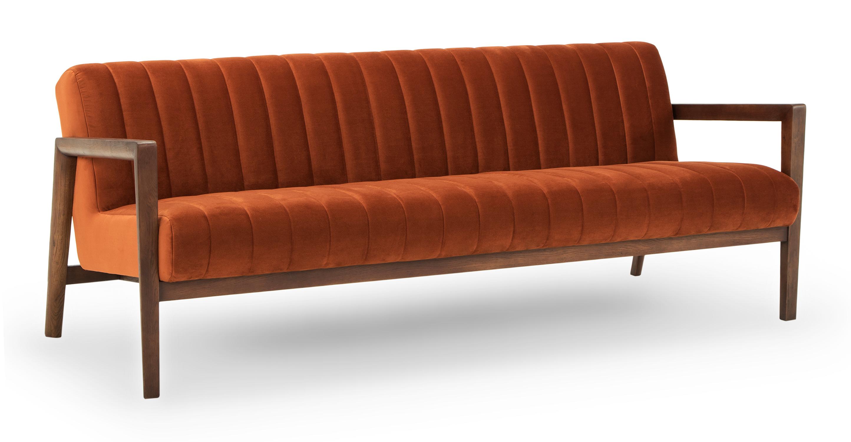 """Biknit 78"""" Fabric Sofa, Rust Velvet"""