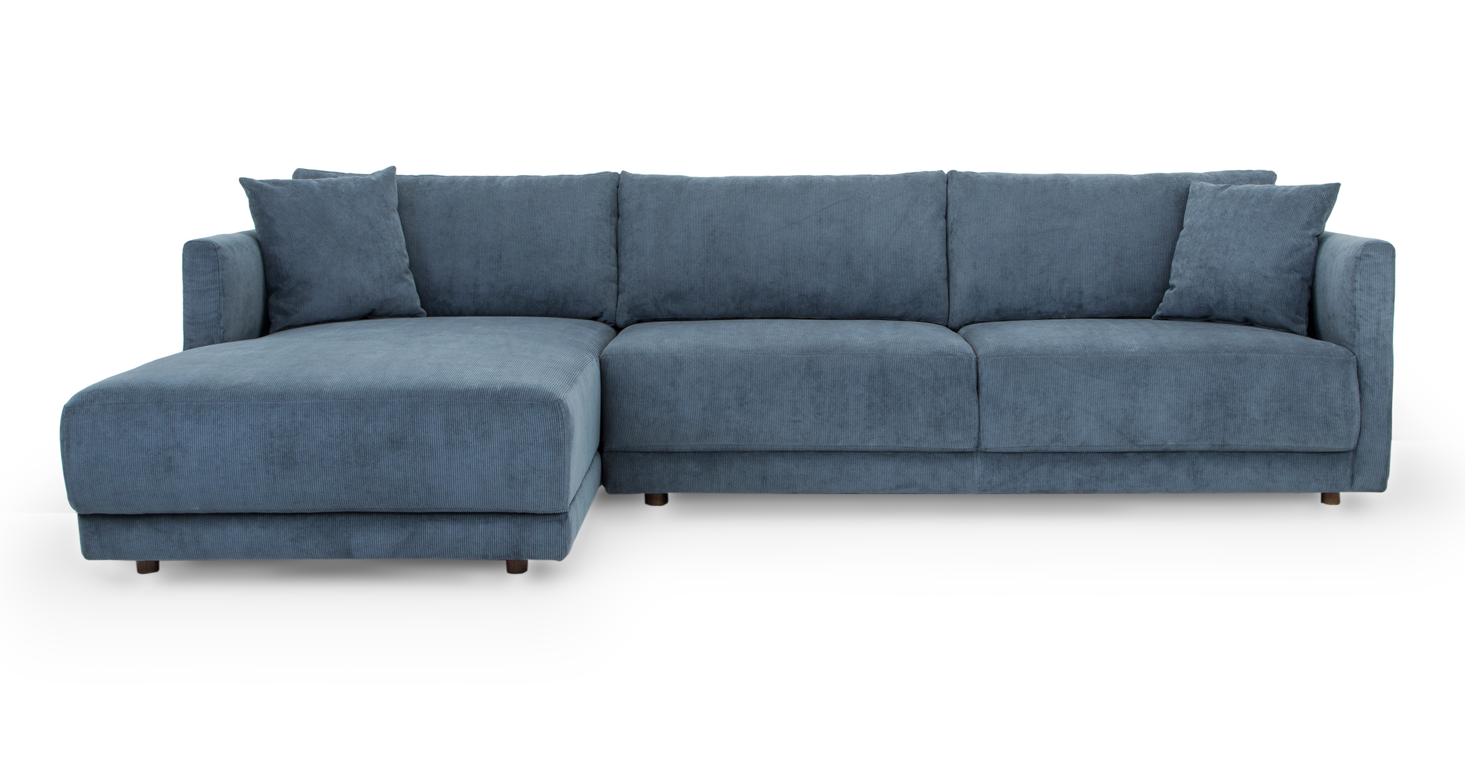 "Domus 115"" Fabric Sofa Sectional Left, Steel Blue Cord"