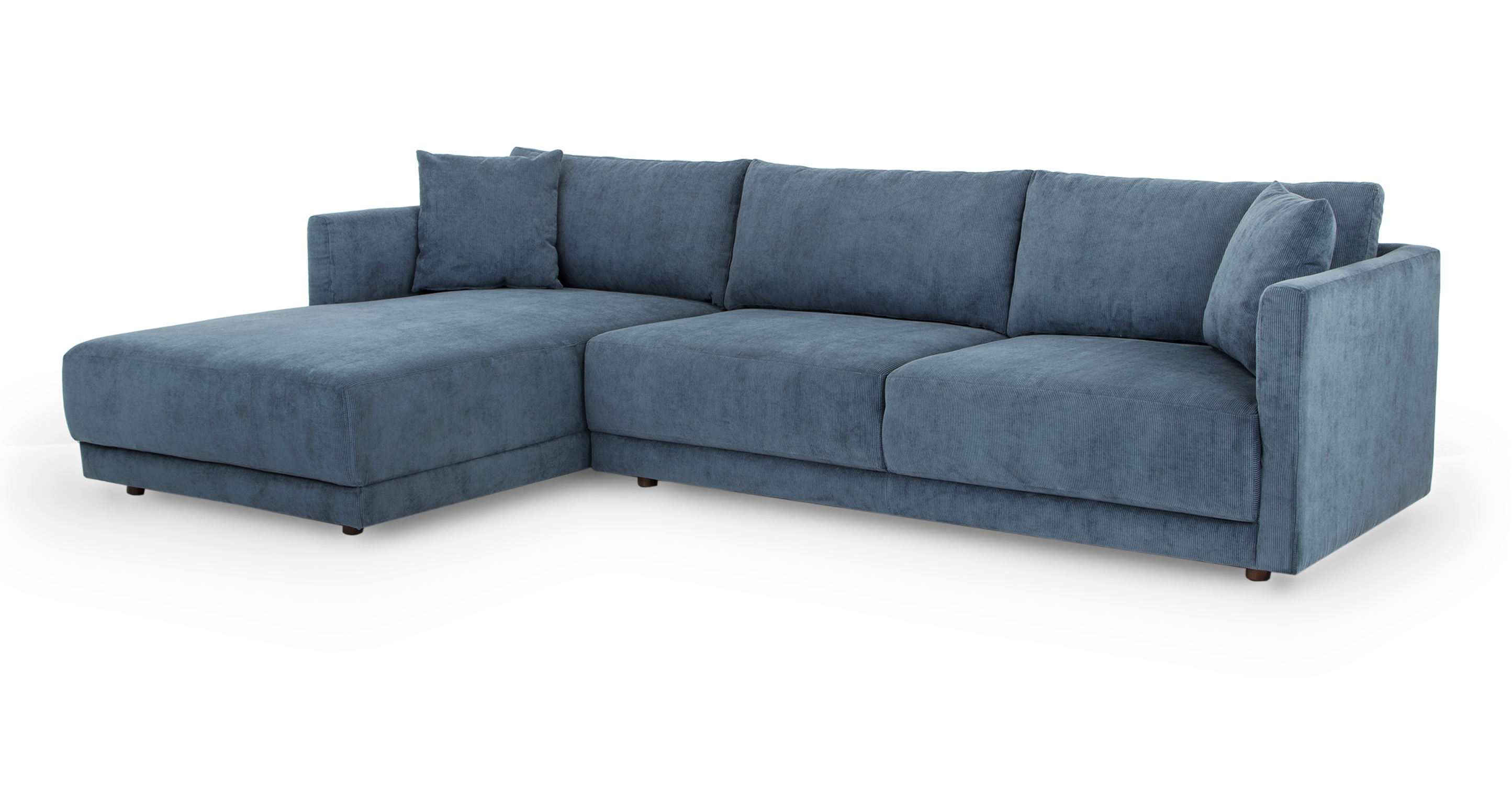 """Domus 115"""" Sofa Sectional Left, Steel Blue Cord"""