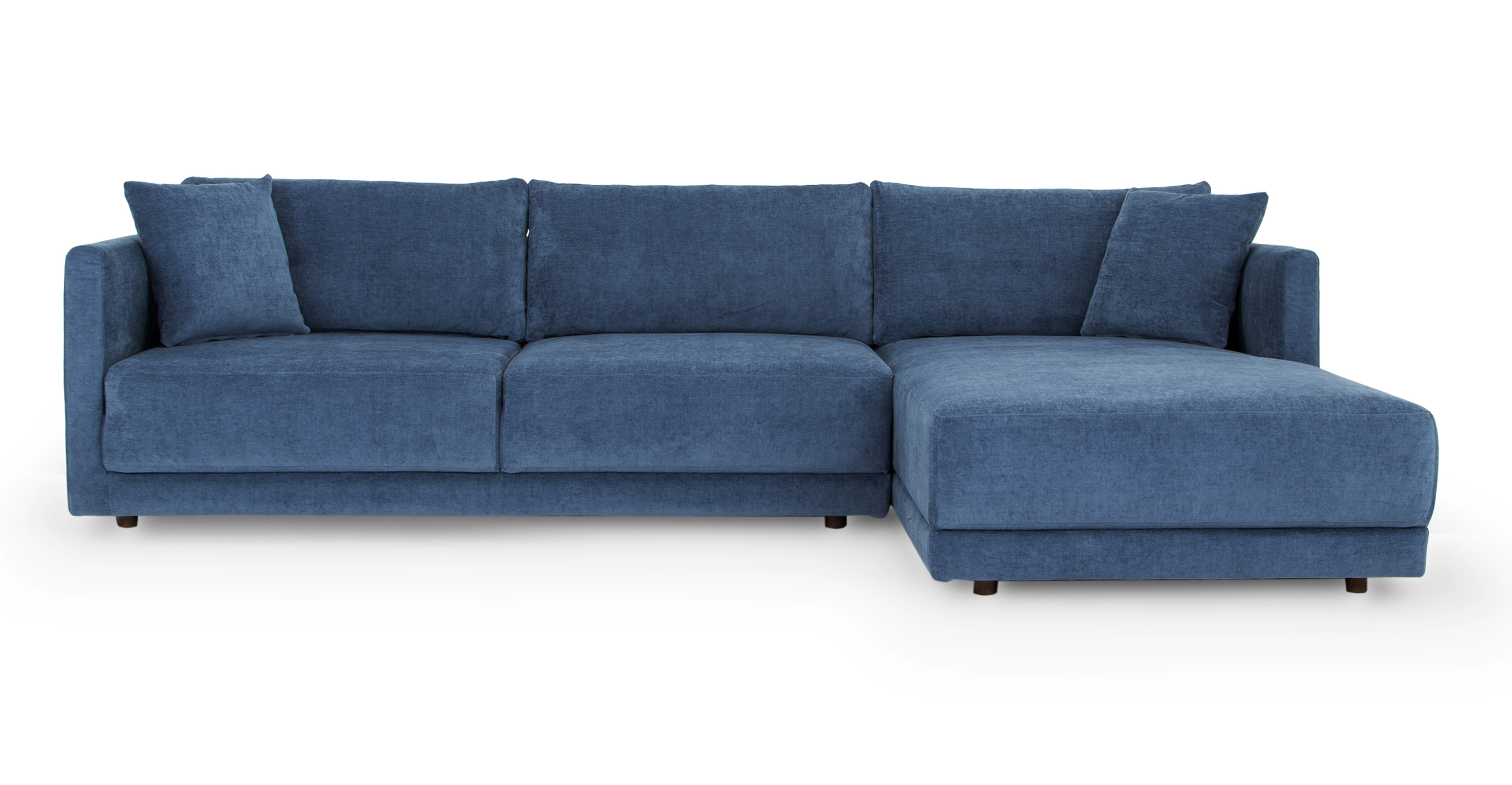 """Domus 115"""" Fabric Sofa Sectional Right, Shadow Blue"""