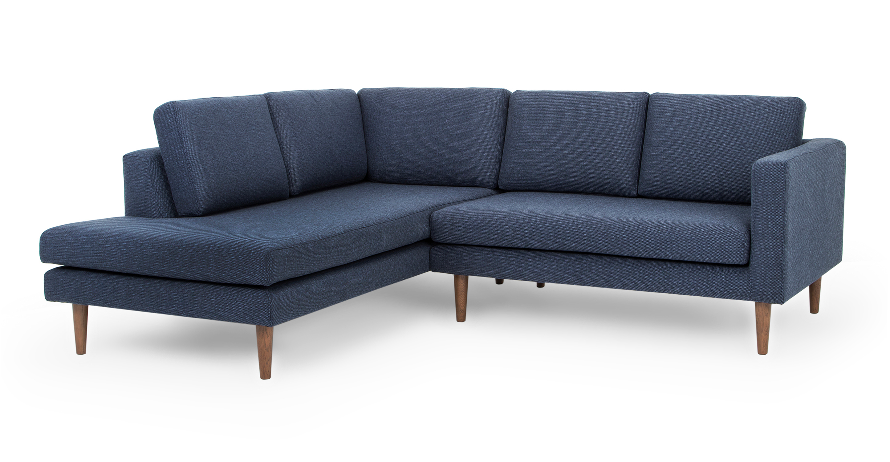 """Dominique 89"""" Fabric Sofa Sectional Left, Blueberry"""