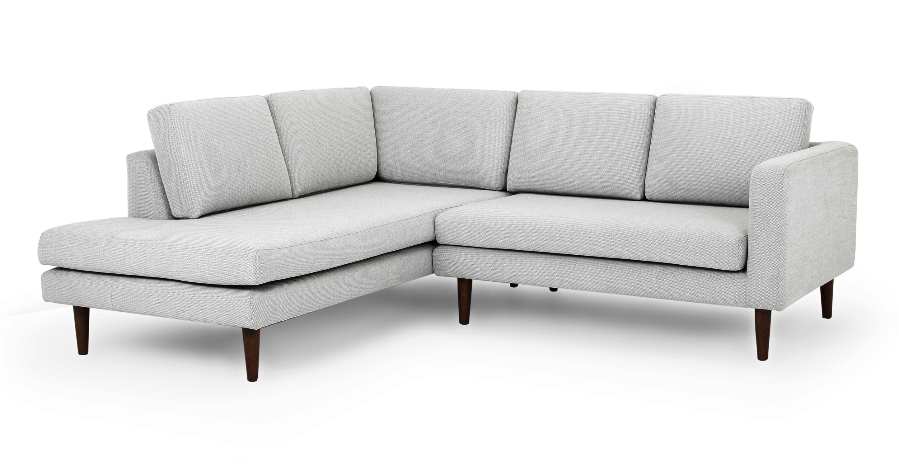 "Dominique 89"" Fabric Sofa Sectional Left, Silver Lining"