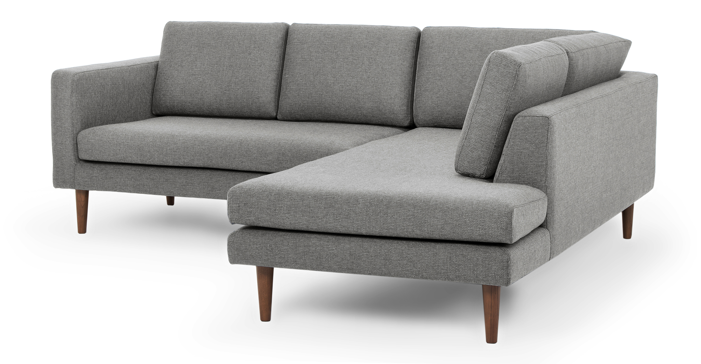 "Dominique 89"" Fabric Sofa Sectional Right, Iron"
