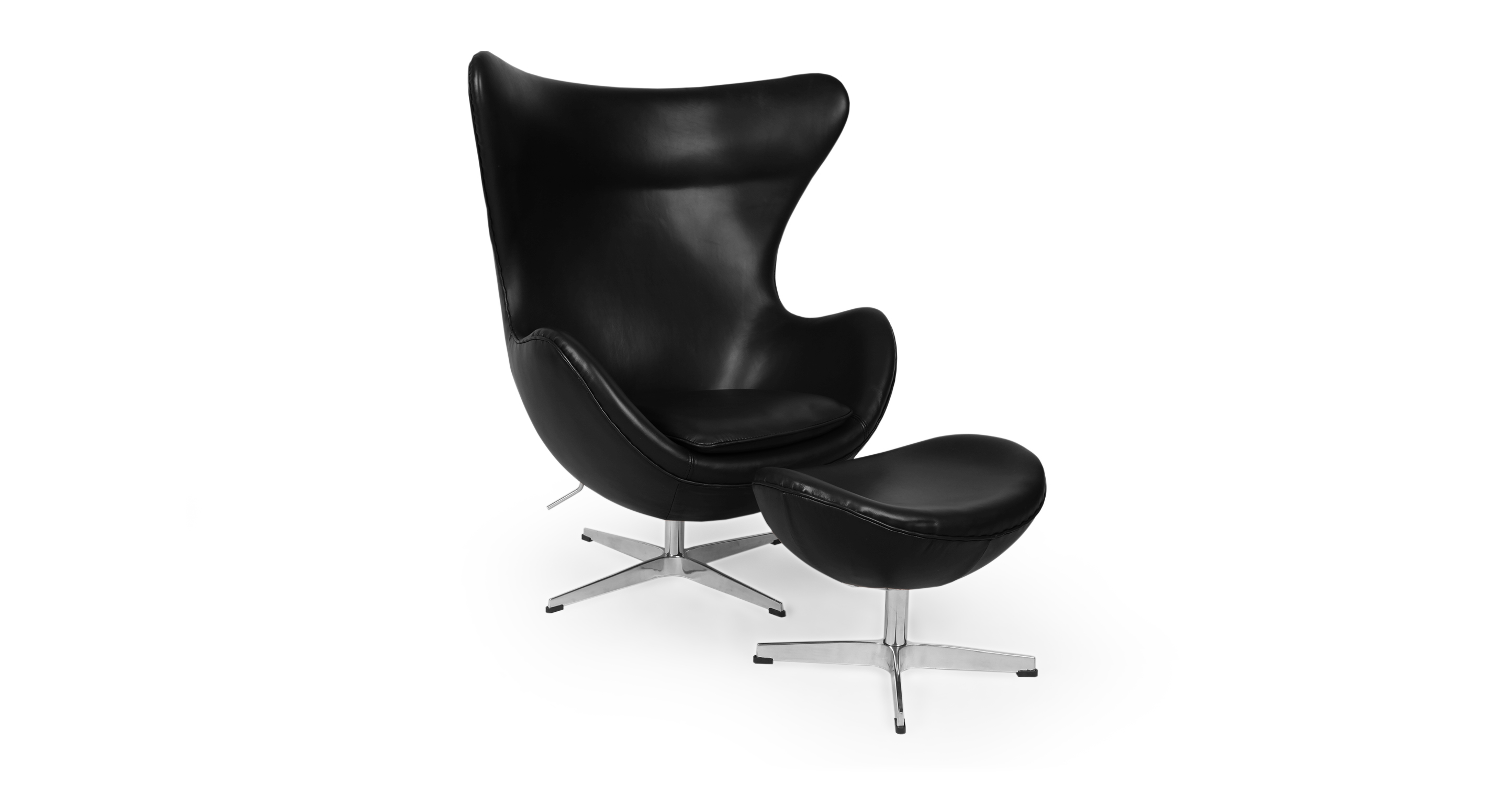 Amoeba Swivel Leather Chair & Ottoman, Black