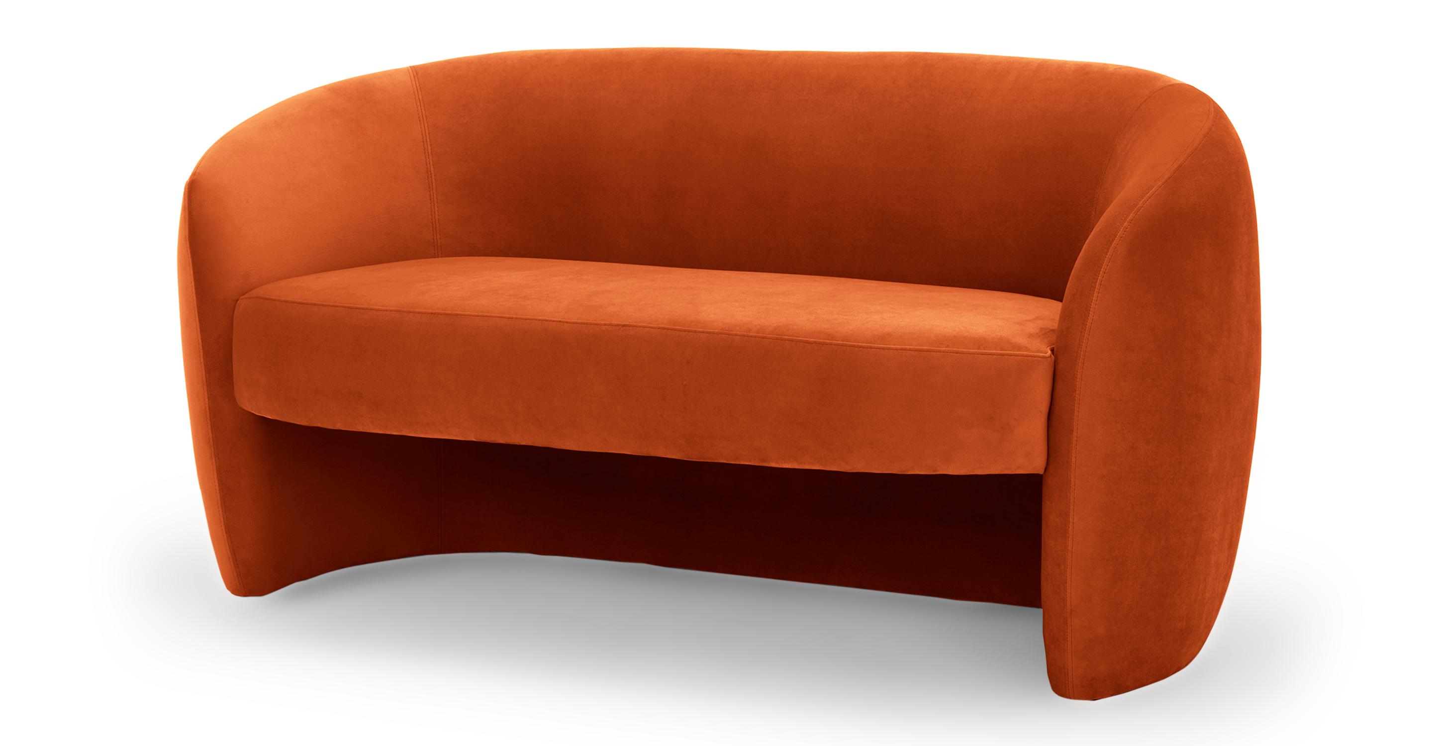 "Miranda 60"" Fabric Sofa, Rust Velvet"