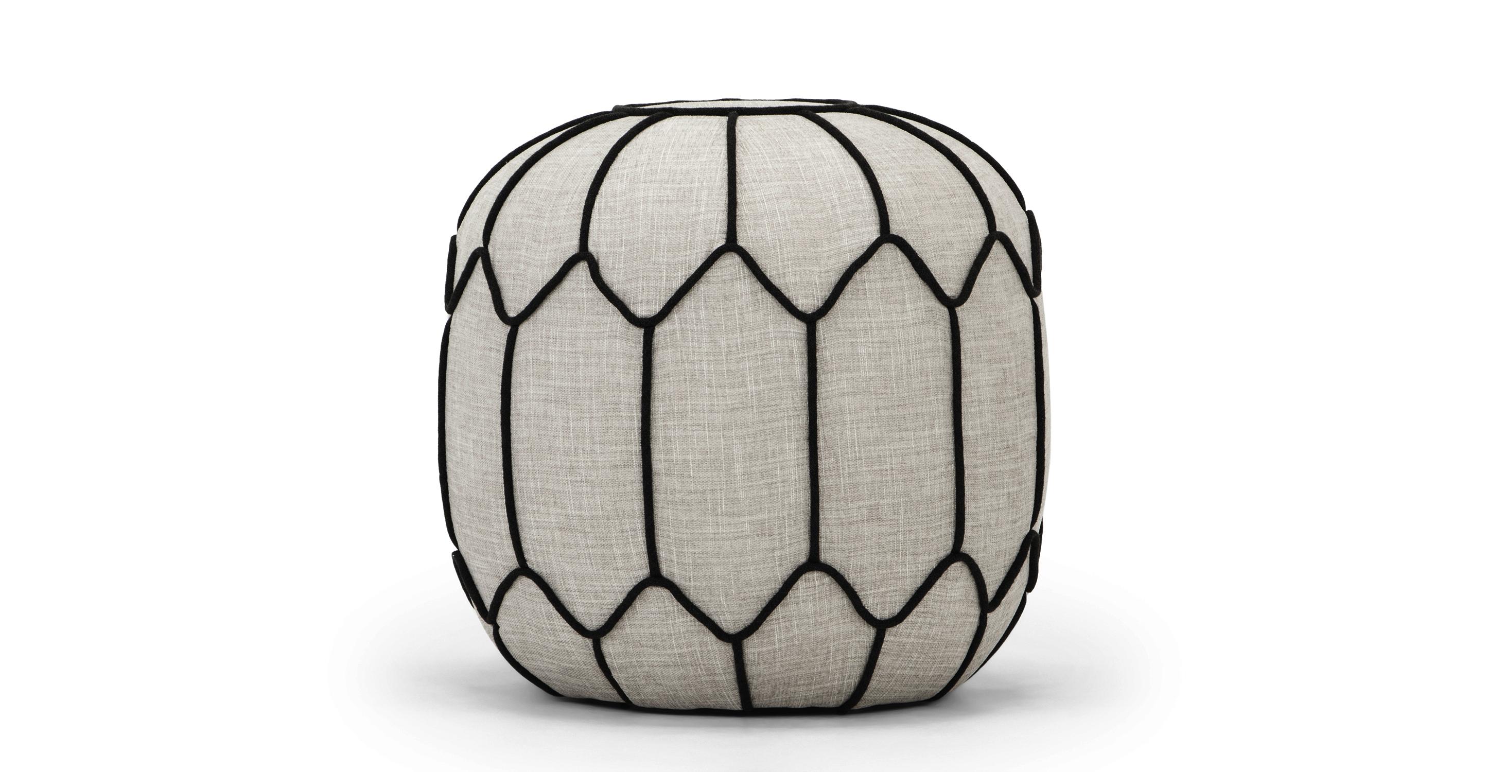 """Mosaic 20"""" Fabric Ottoman, White Lie"""