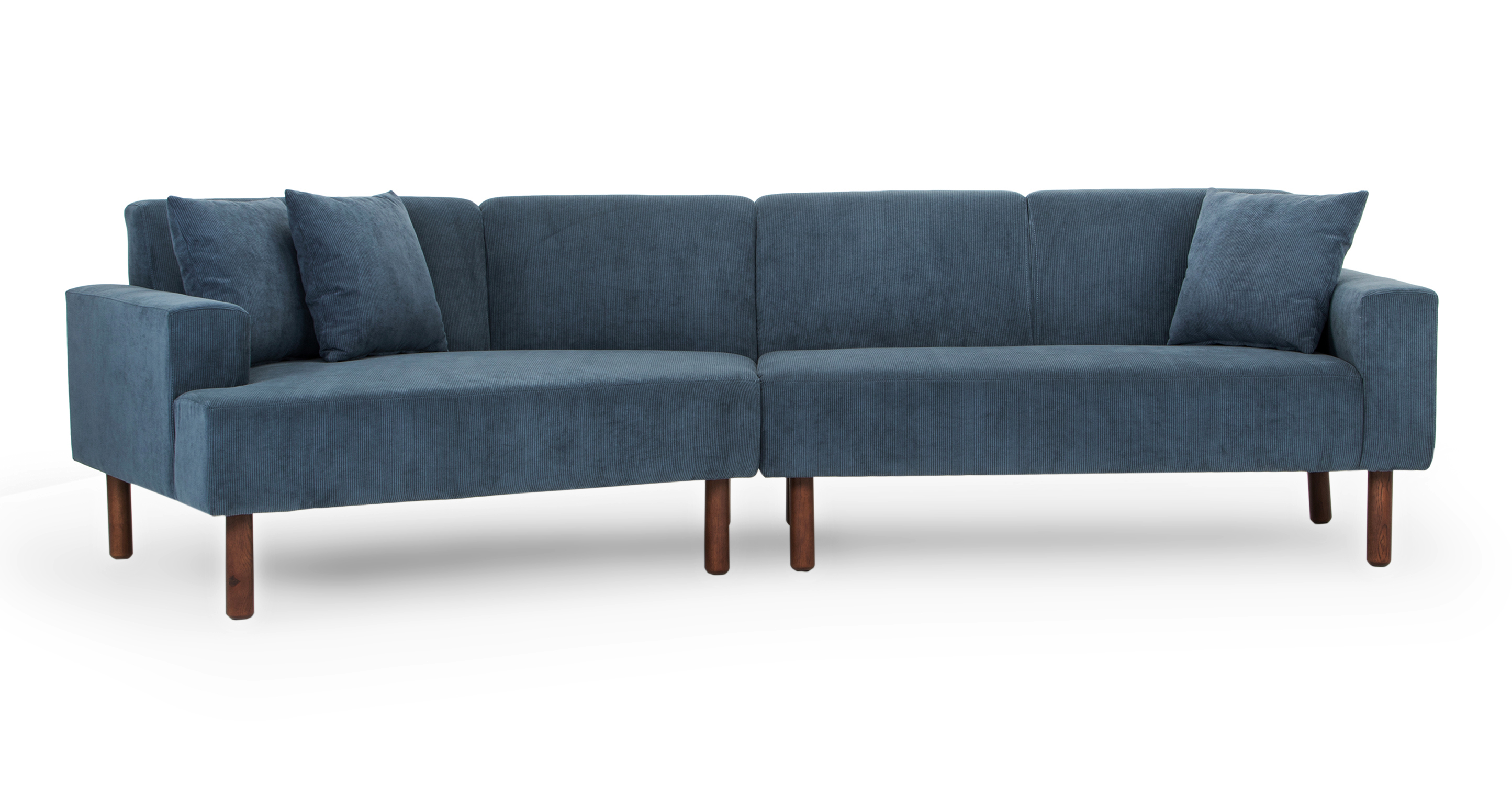 "Tobagon 121"" Fabric Sofa with Angled Chaise, Steel Blue Cord"