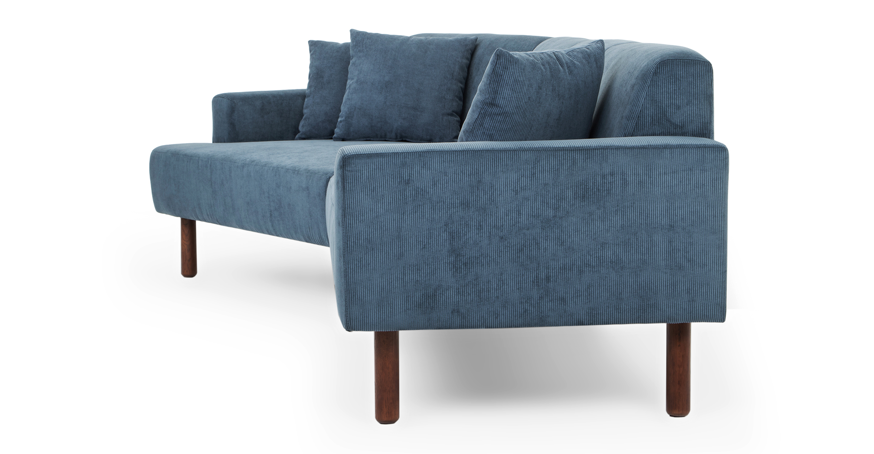 """Tobagon 121"""" Sofa with Angled Chaise, Steel Blue Cord"""