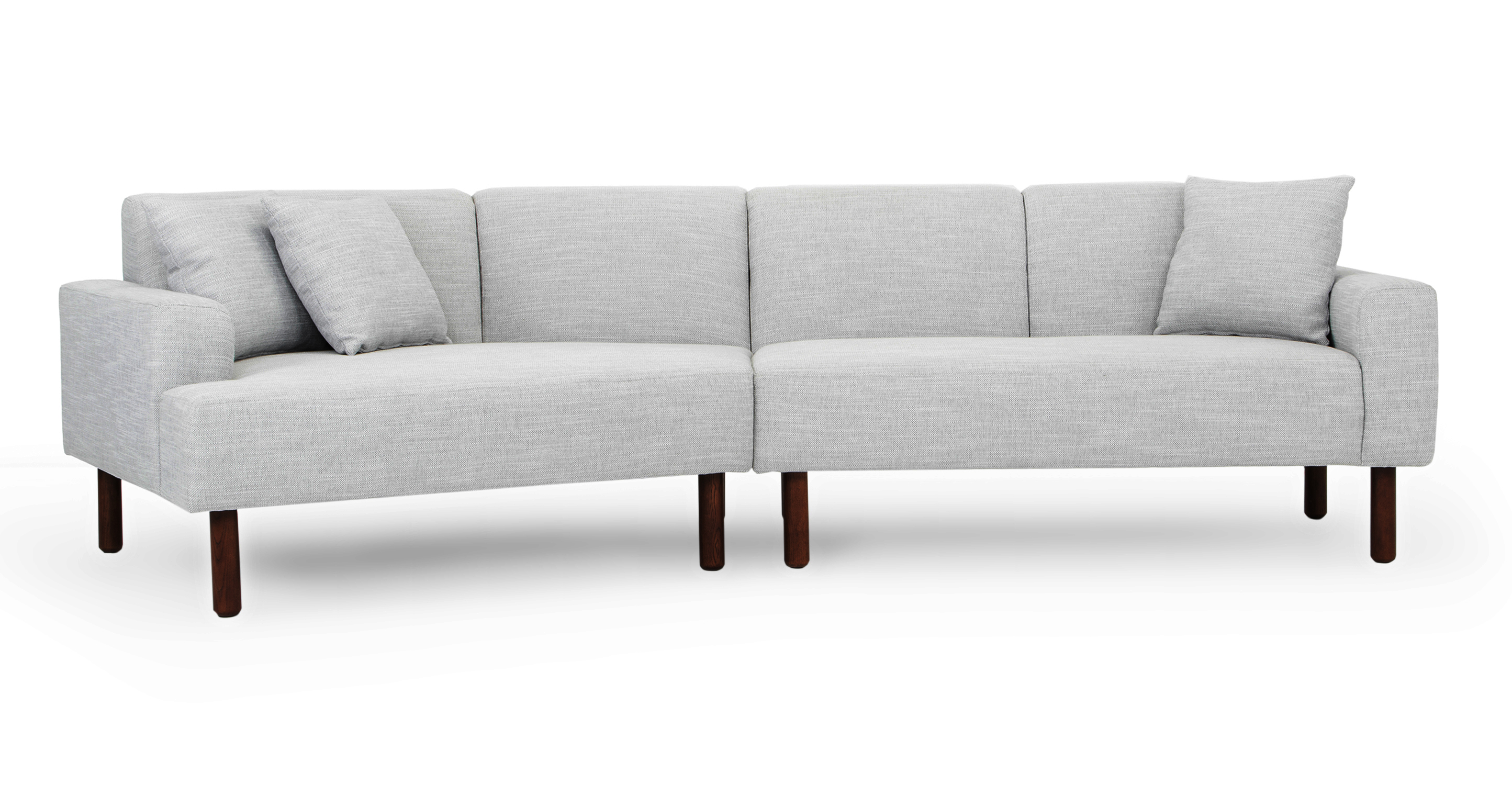 """Tobagon 121"""" Fabric Sofa with Angled Chaise, Silver Lining"""
