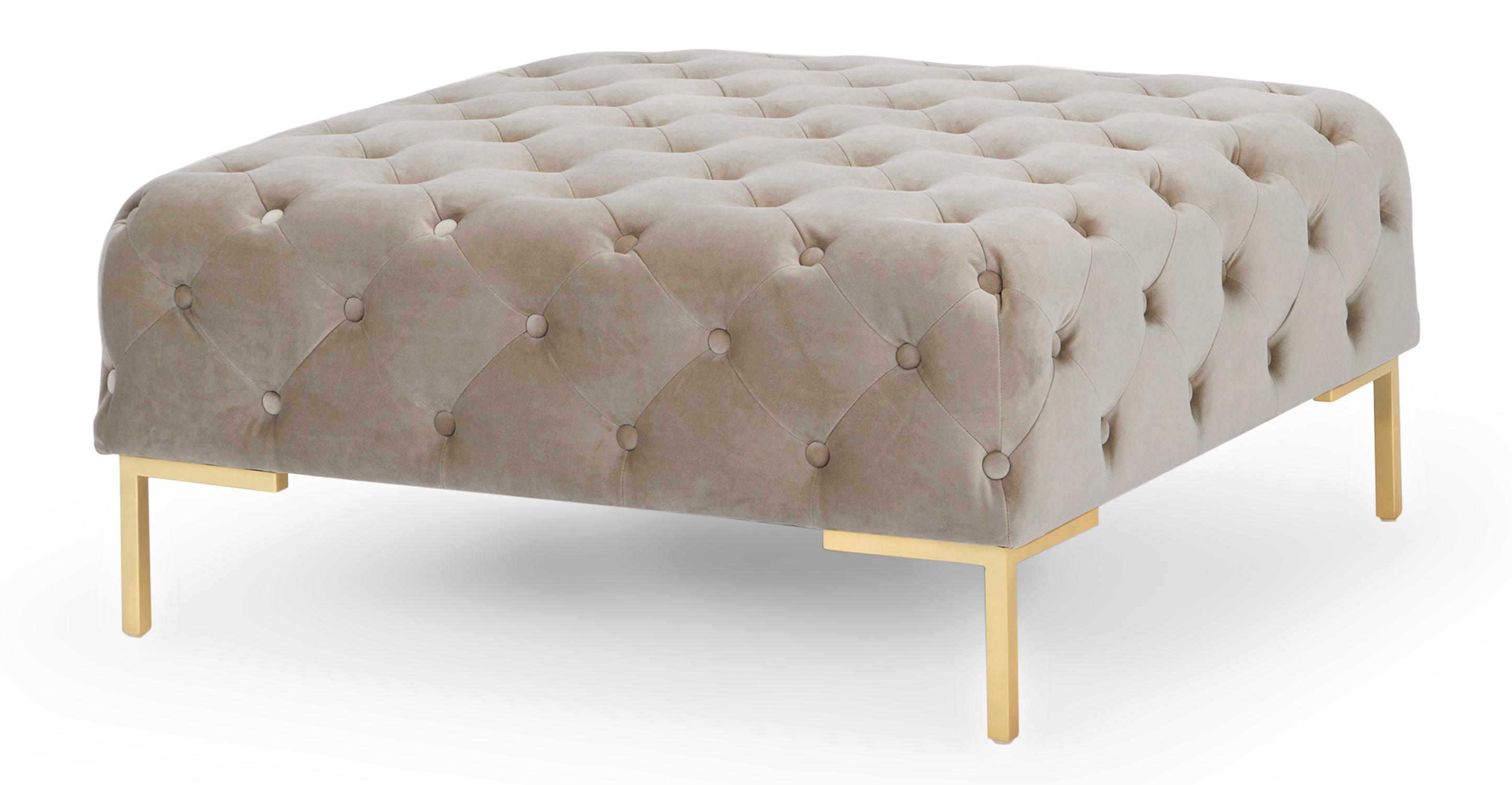 """Umbria 36"""" Square Fabric Ottoman, Thunder Velvet"""