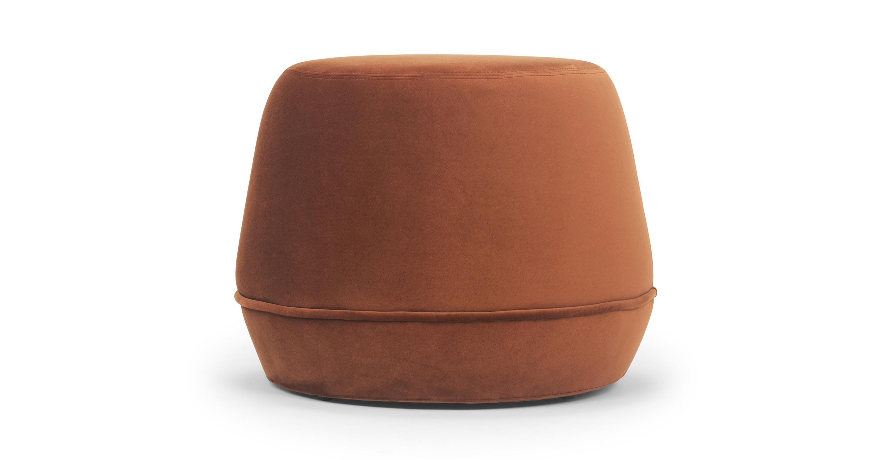 "Onvi 24"" Fabric Ottoman, Rust Velvet"