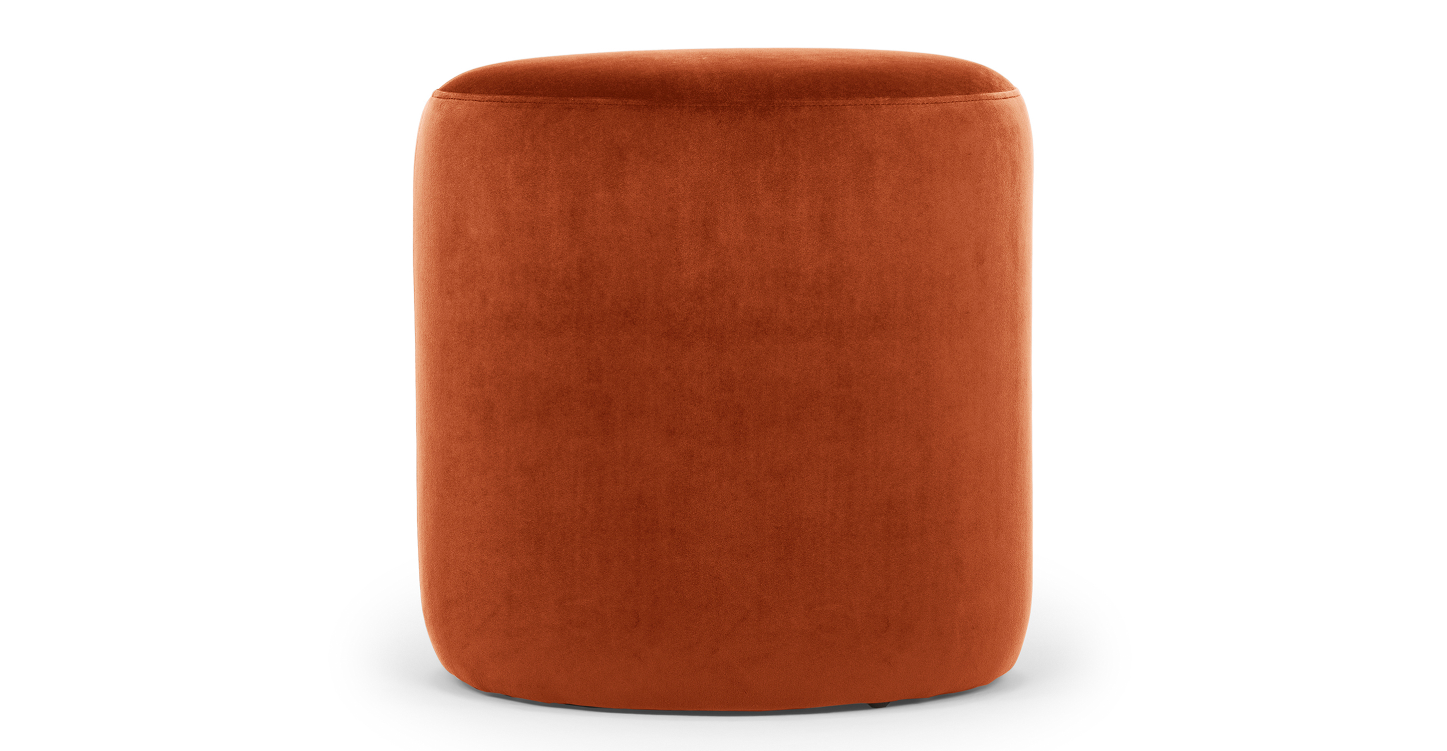 "Spool 18"" Fabric Ottoman, Rust Velvet"