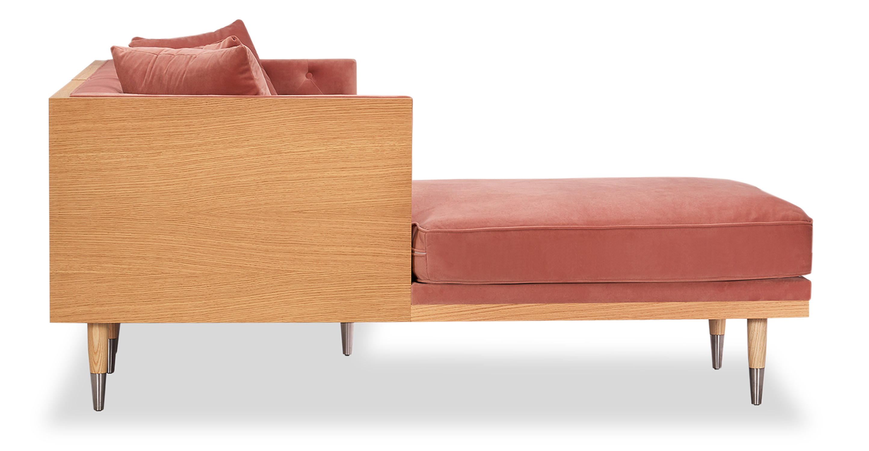 "Woodrow Neo 99"" Sofa Sectional Left, Ash/Blush"