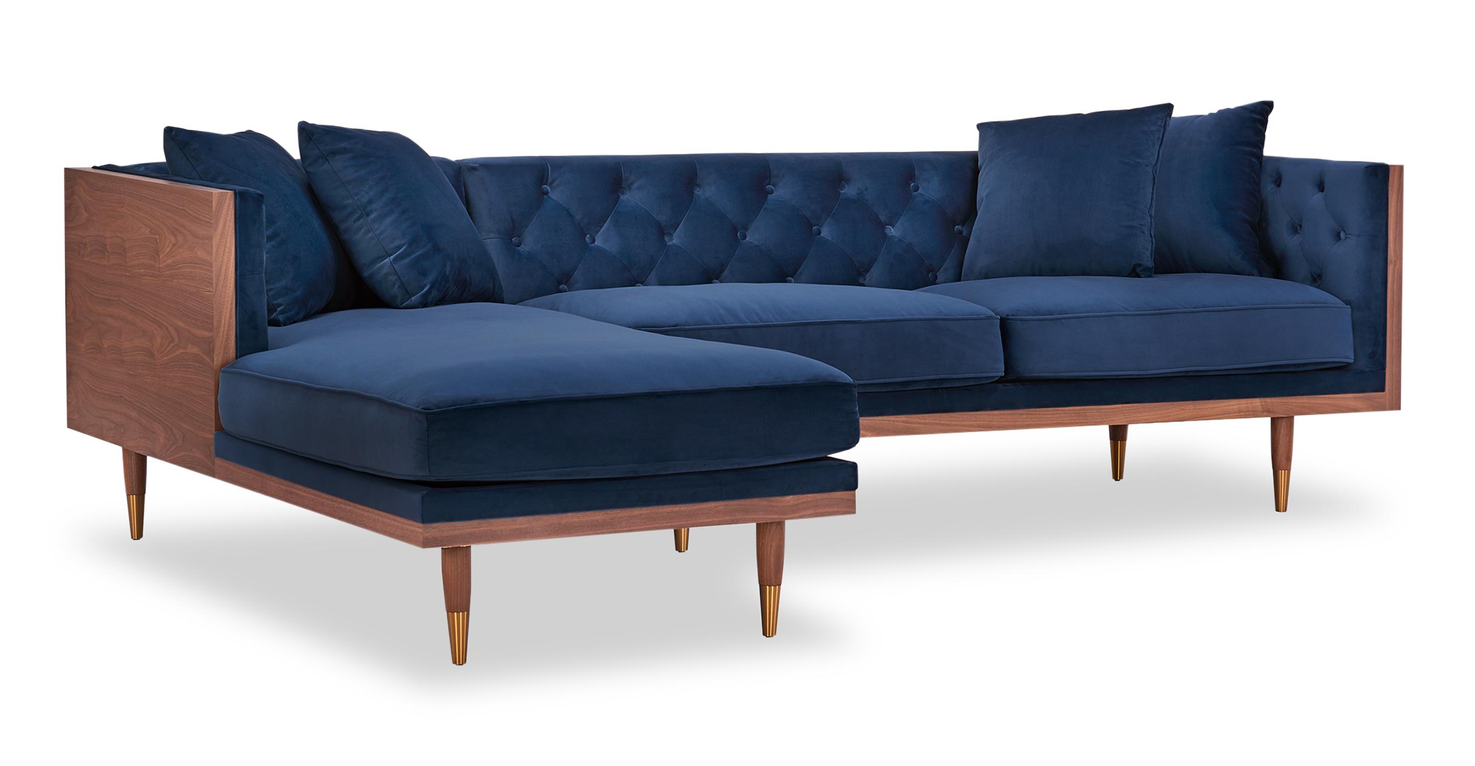 "Woodrow Neo 99"" Fabric Sofa Sectional Left, Walnut/Persian Velvet"