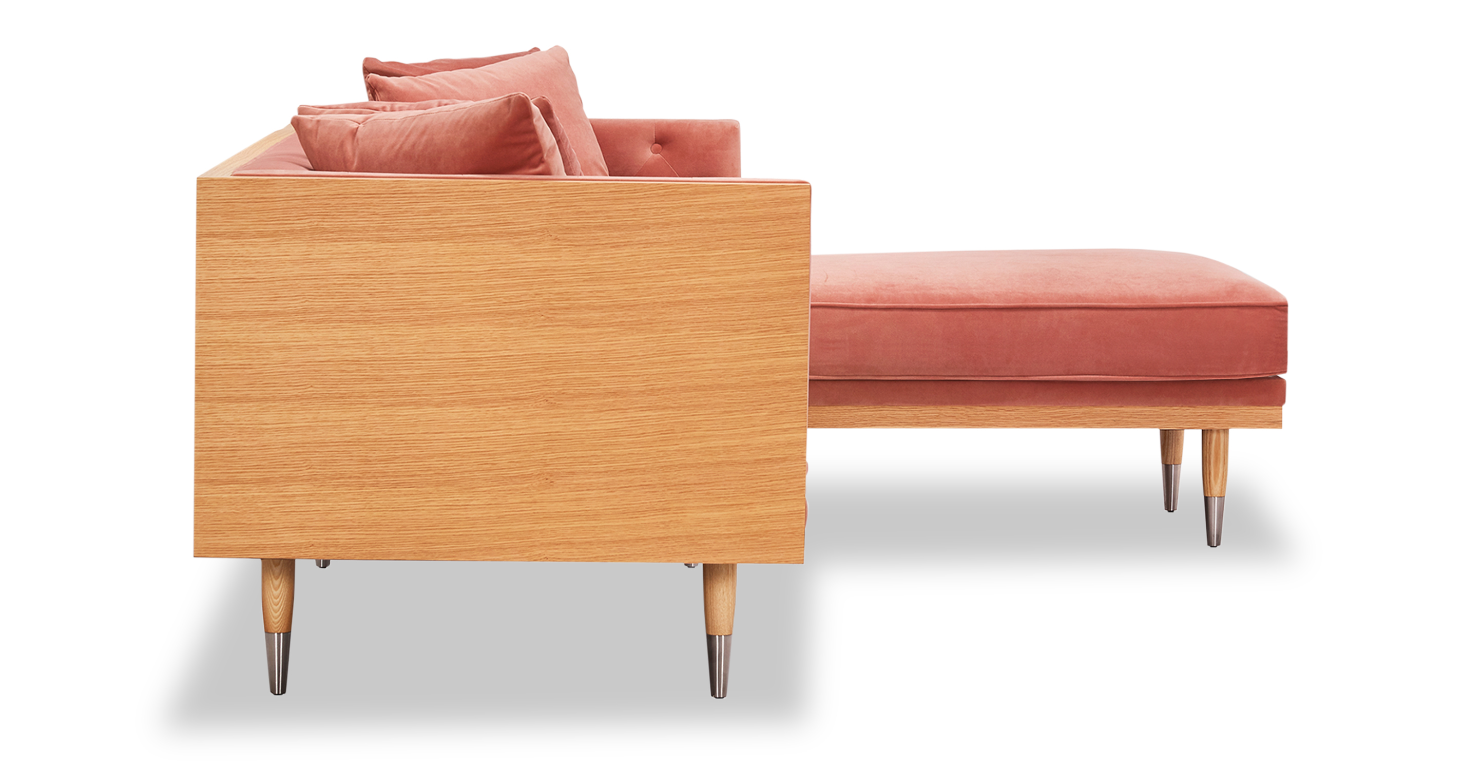 "Woodrow Neo 99"" Sofa Sectional Right, Ash/Blush"