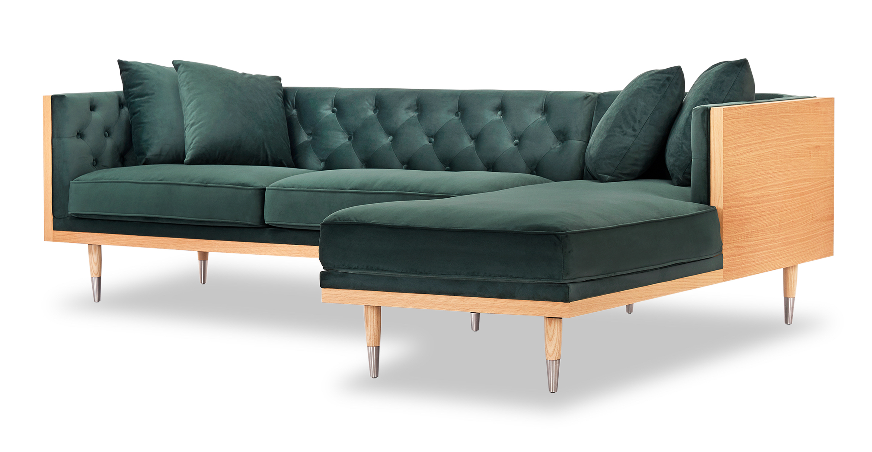 "Woodrow Neo 99"" Fabric Sofa Sectional Right, Ash/Jade Velvet"