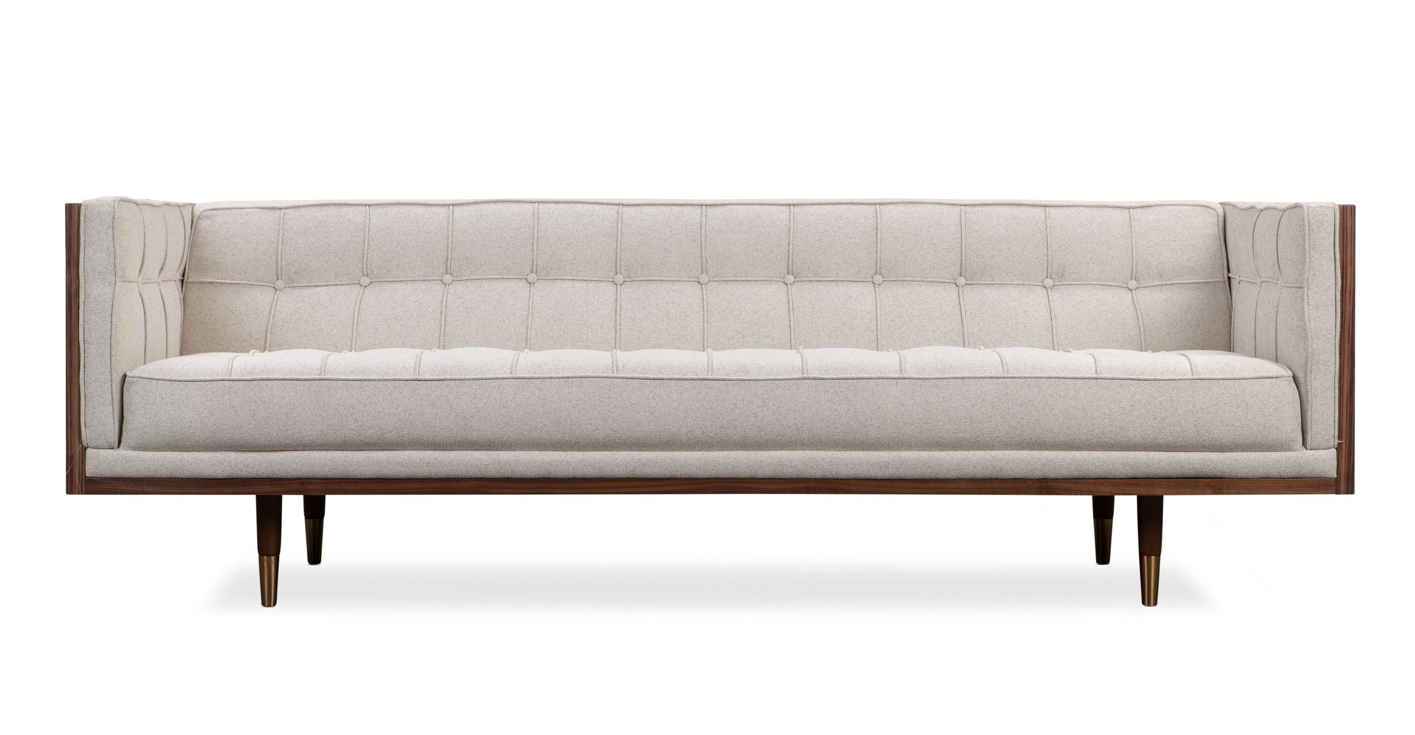 "Woodrow Box 87"" Fabric Sofa, Walnut/Mello"