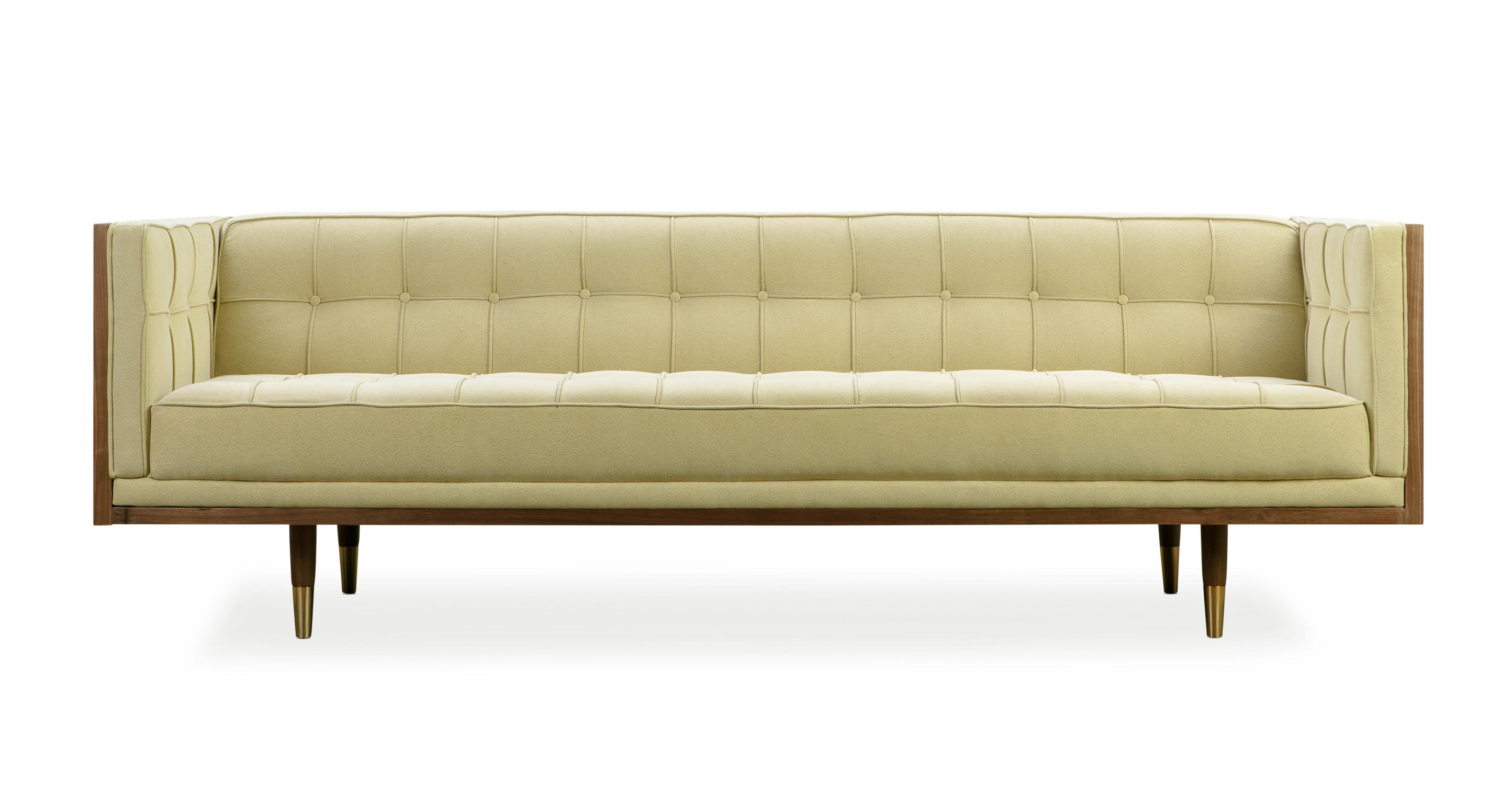 "Woodrow Box 87"" Fabric Sofa, Walnut/Seagrass Linen"