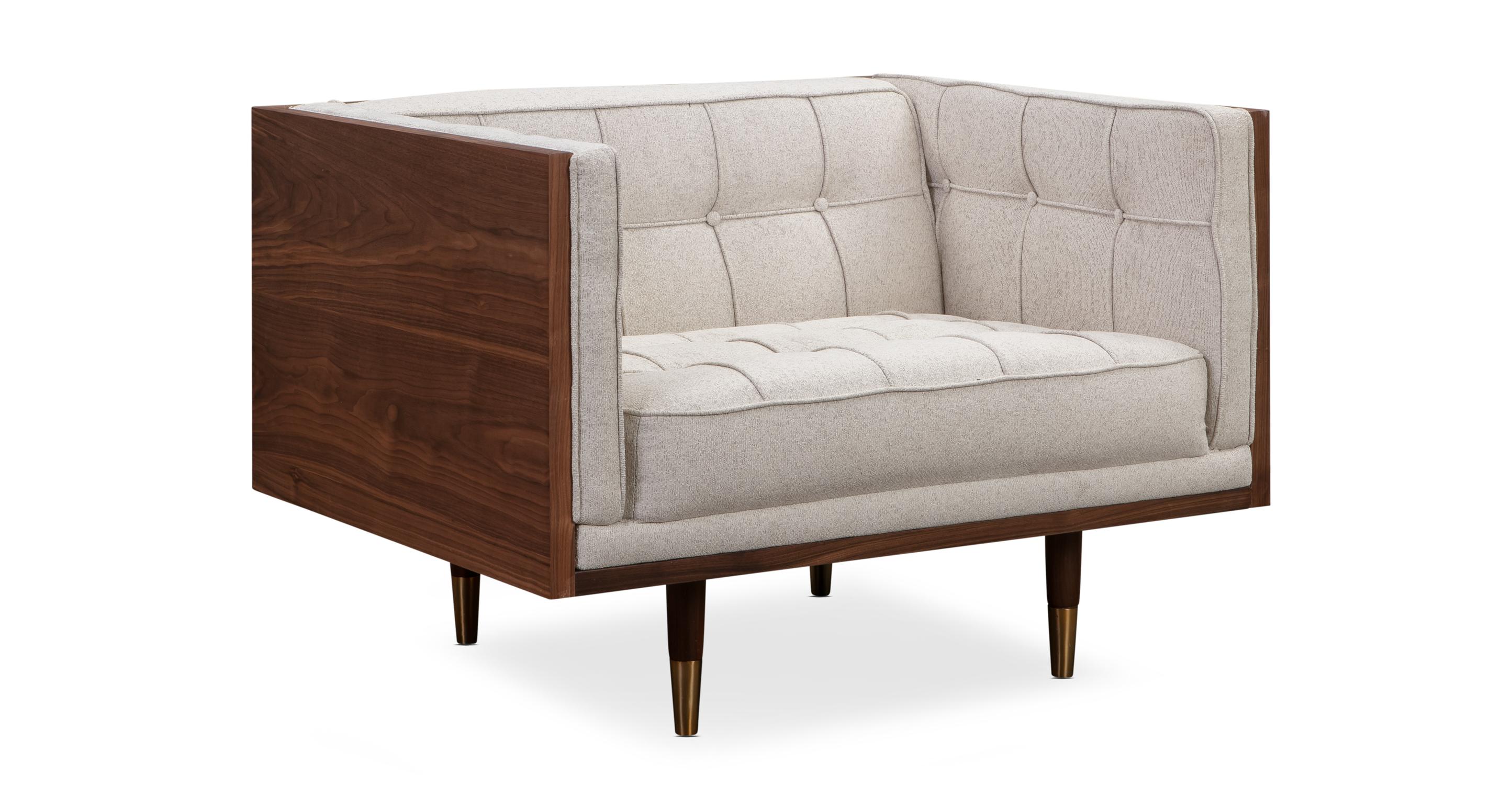 Woodrow Box Fabric Chair, Walnut/Mello