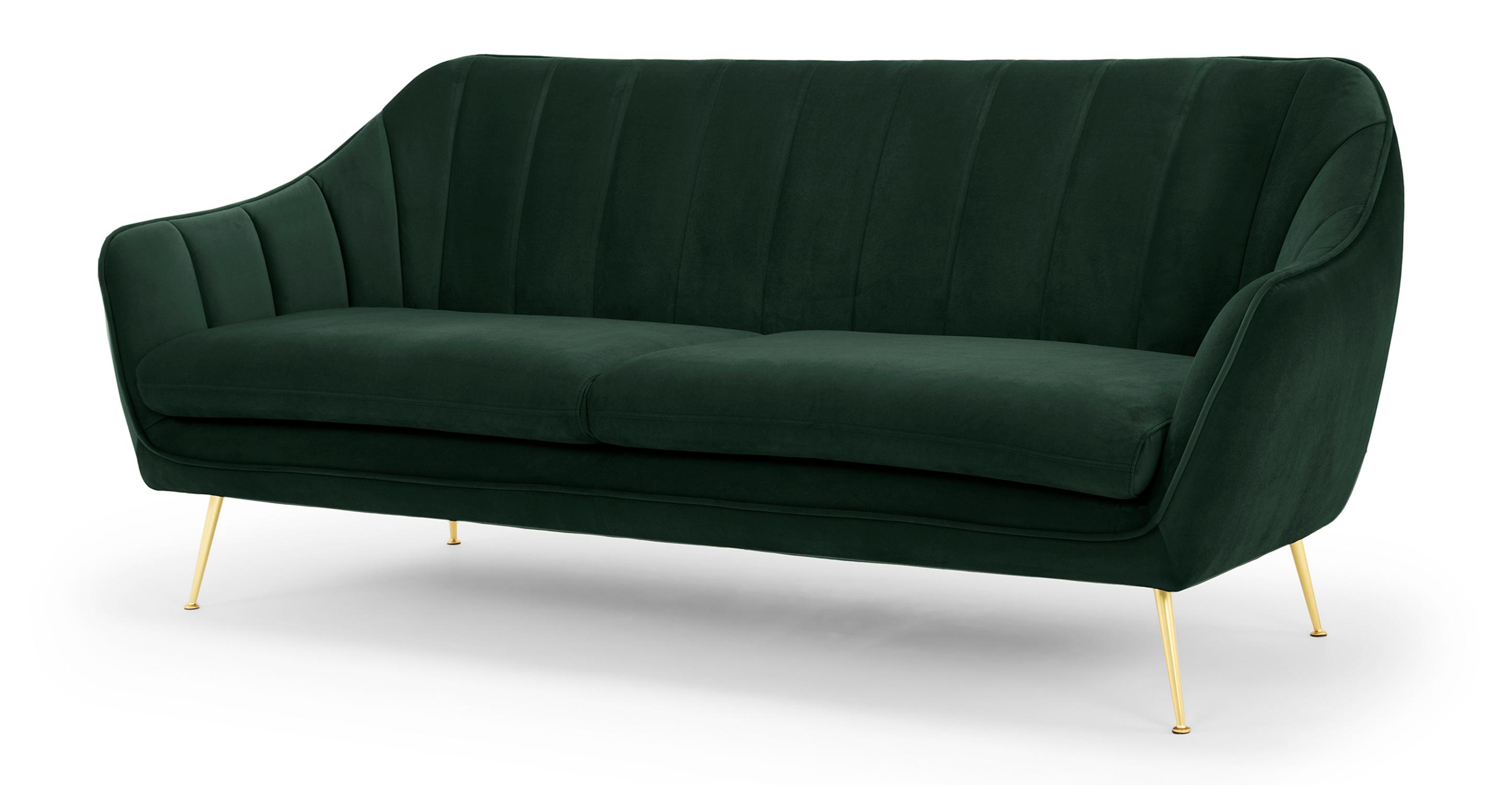"""Kendall 82"""" Fabric Sofa, Shamrock Velvet"""