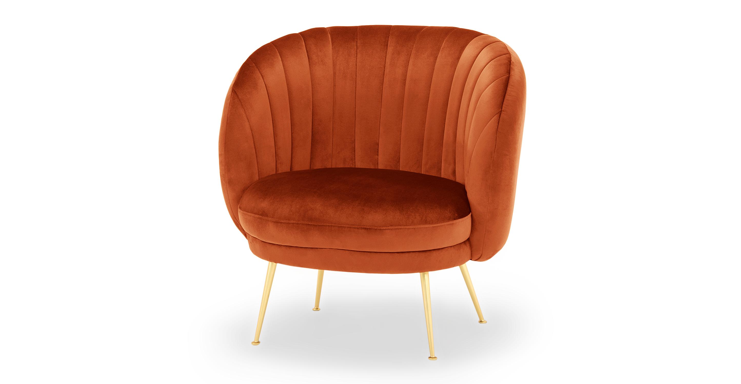 "Tux 38"" Fabric Chair, Rust Velvet"