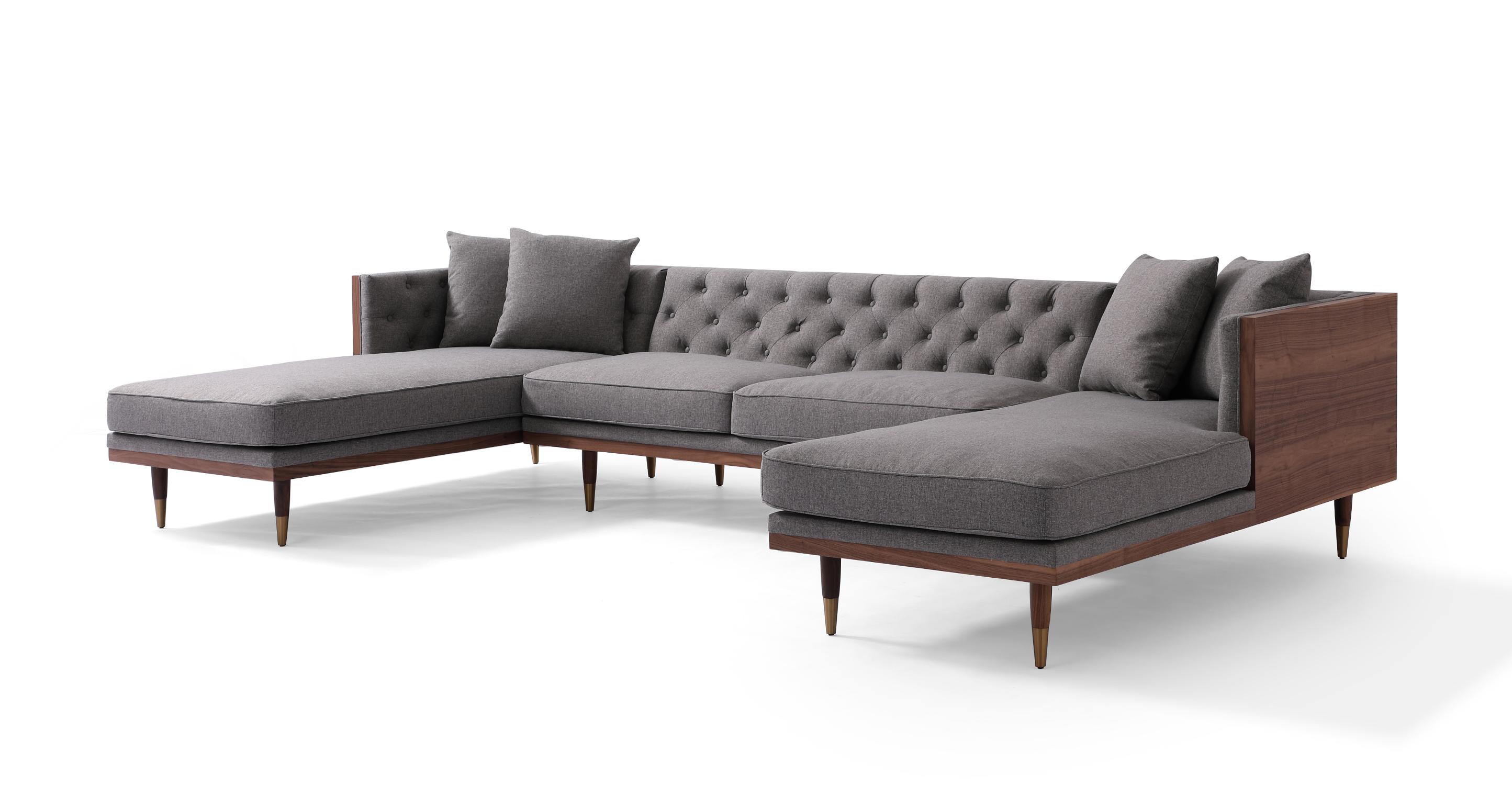 "Woodrow Neo 126"" Fabric Sofa U-Sectional, Walnut/Eames Grey"