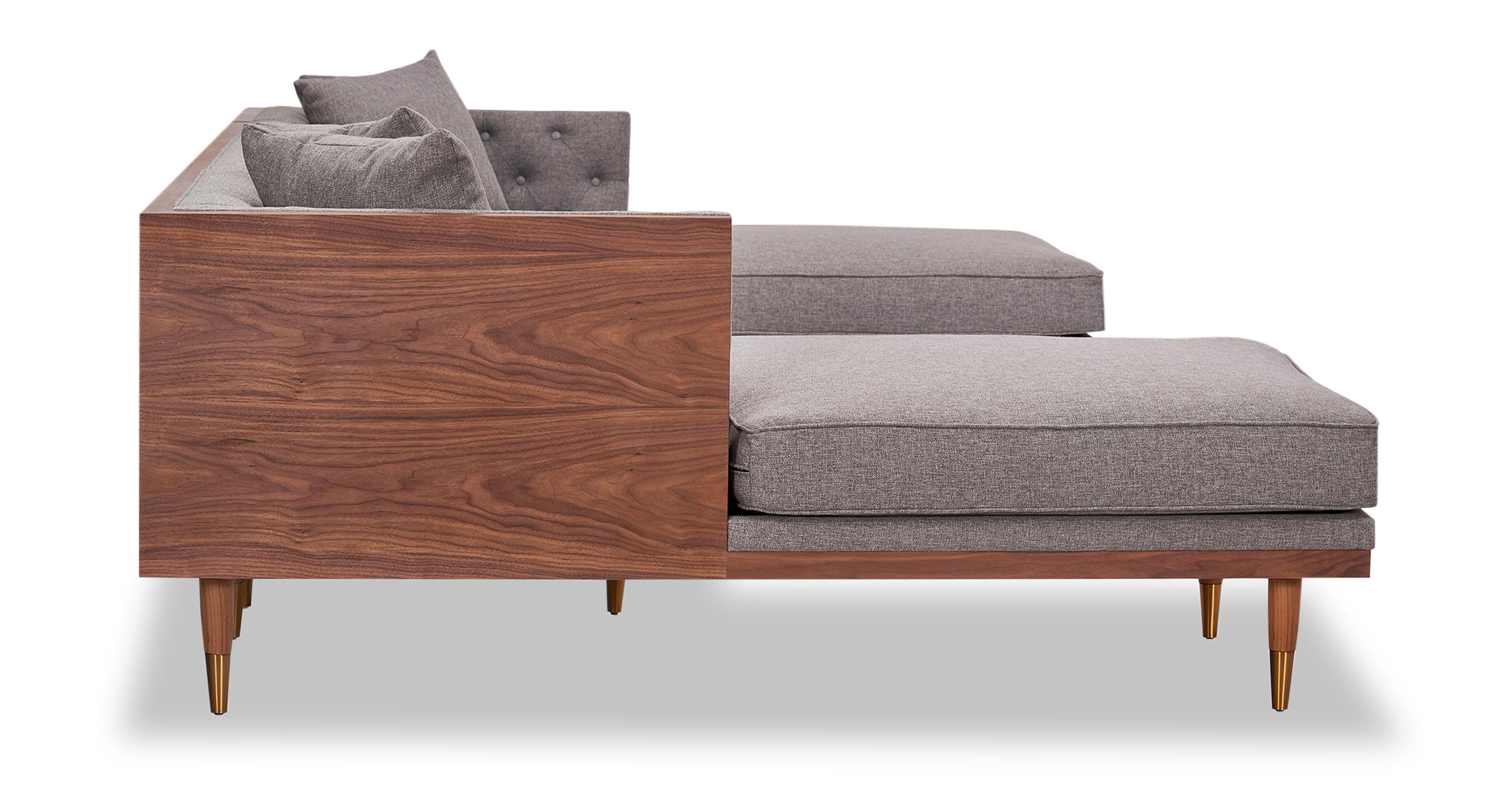 Woodrow Neo Sofa U-Sectional, Walnut/Eames Grey
