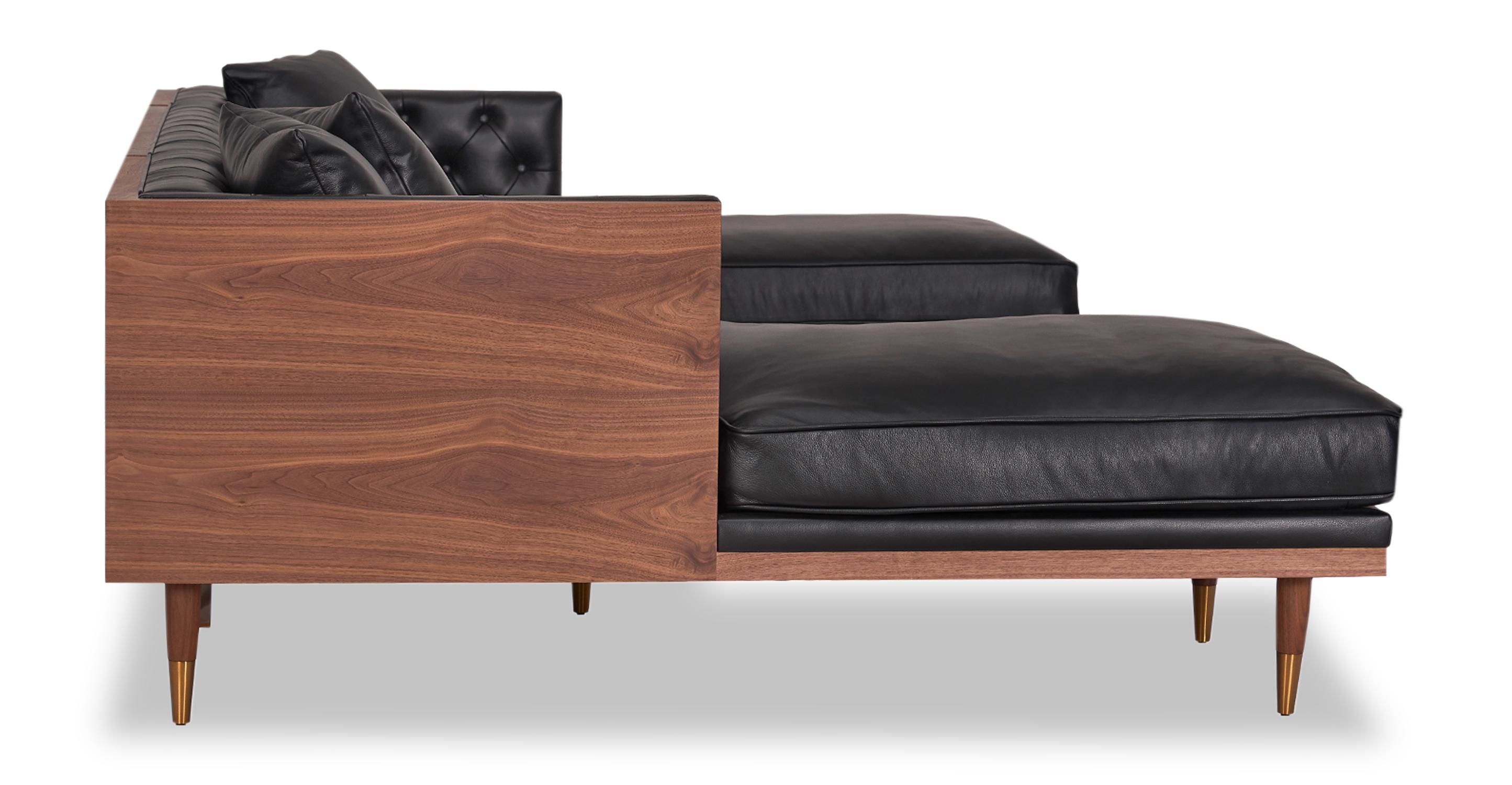 Woodrow Neo Sofa U-Sectional, Walnut/Black Aniline