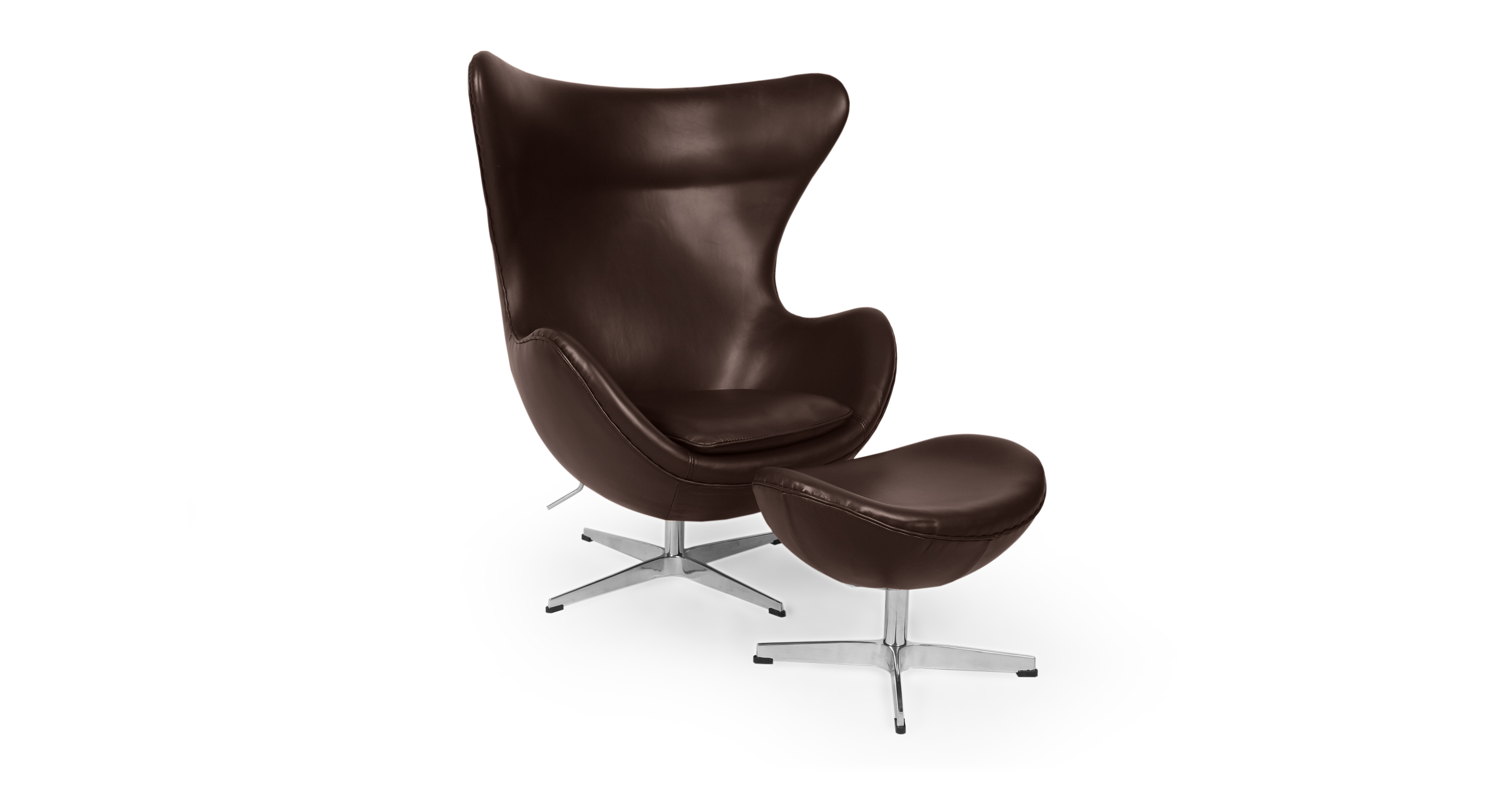 Amoeba Swivel Leather Chair & Ottoman, Choco Brown