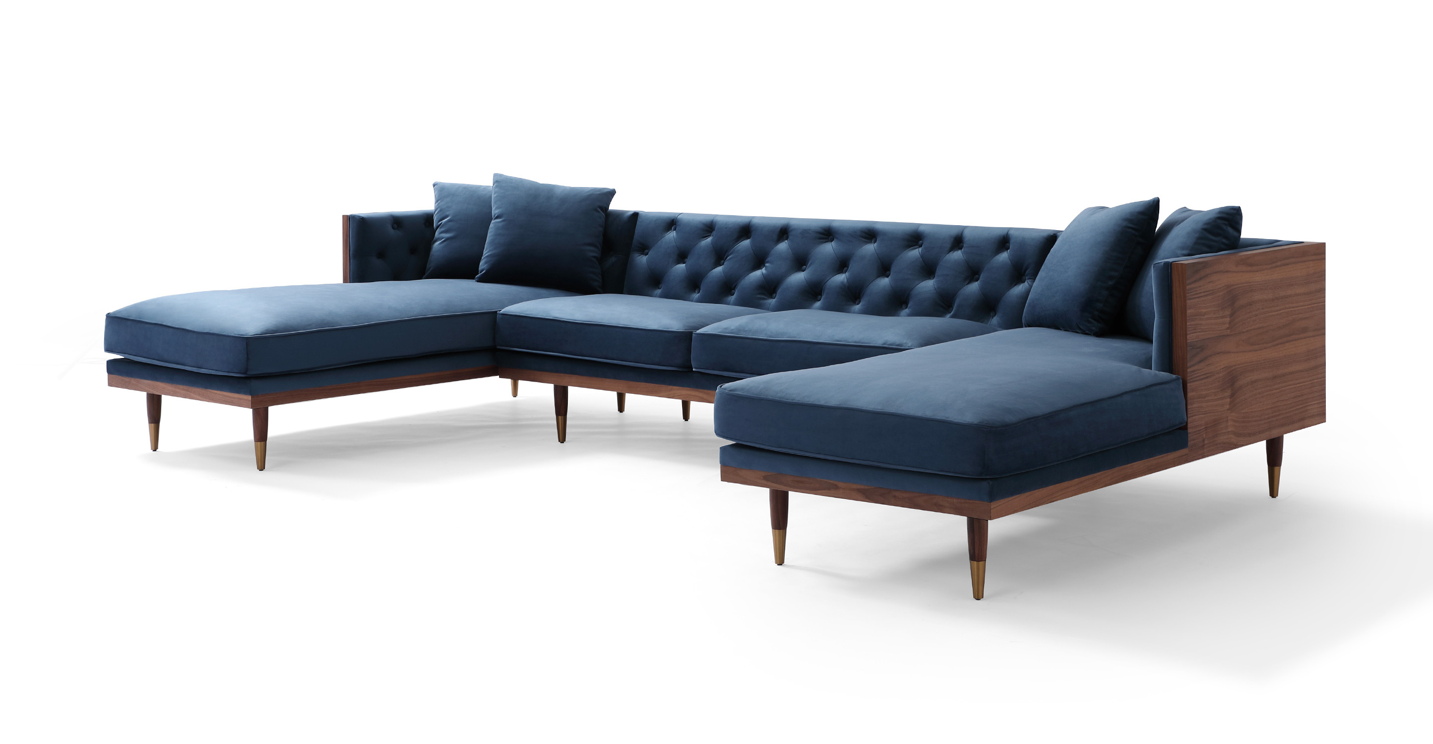 "Woodrow Neo 126"" Fabric Sofa U-Sectional, Walnut/Persian Velvet"