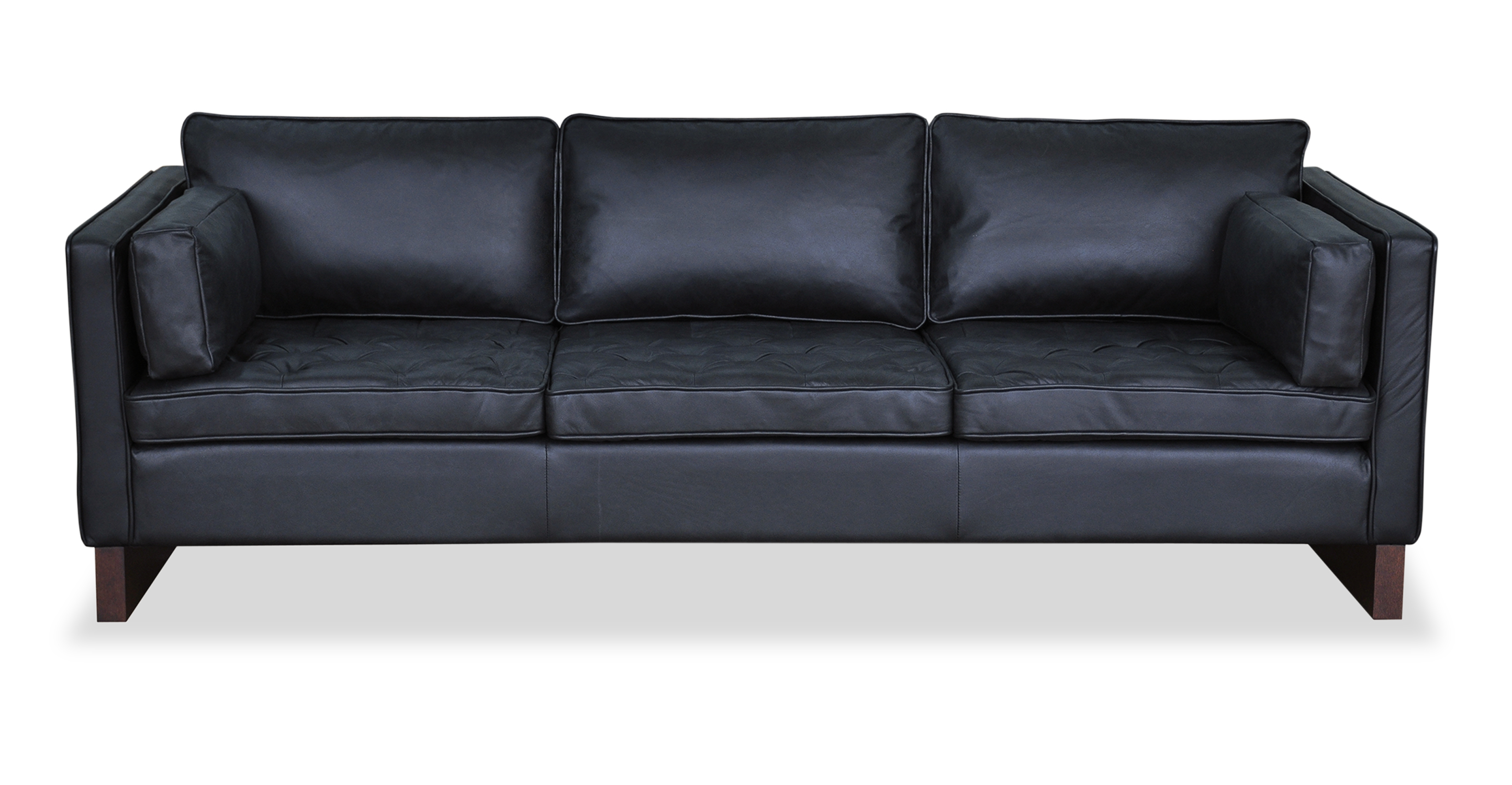 "Wexler 87"" Leather Sofa, Napoli Black"