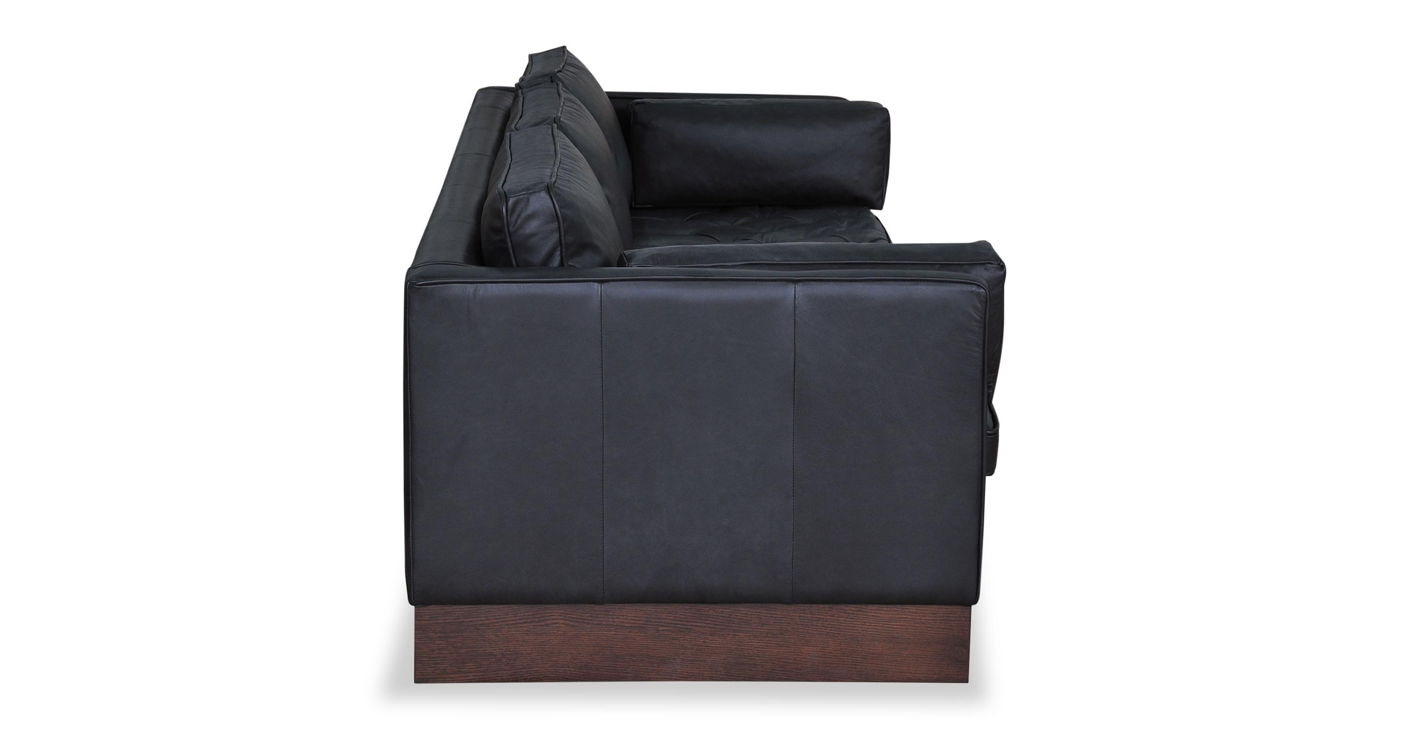 "Wexler 87"" Leather Sofa, Black Top Grain Semi Aniline"
