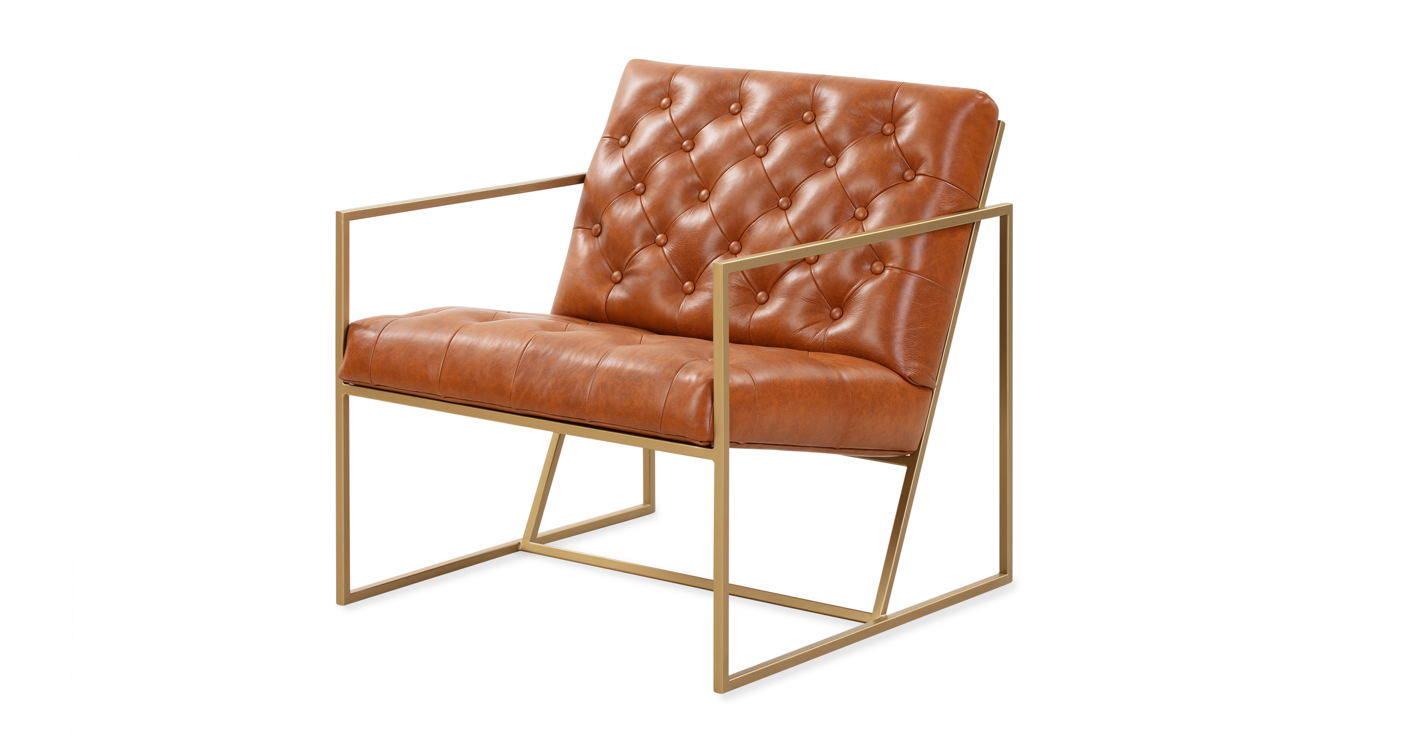 """Lawson 28"""" Leather Chair, Gold/Balkan"""