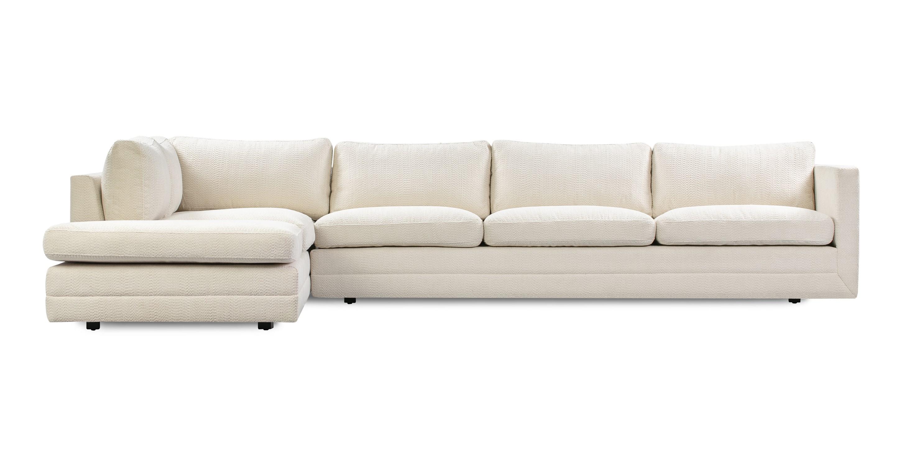 """Manhattan 129"""" Fabric Sofa Sectional Left, Cream Atomic"""