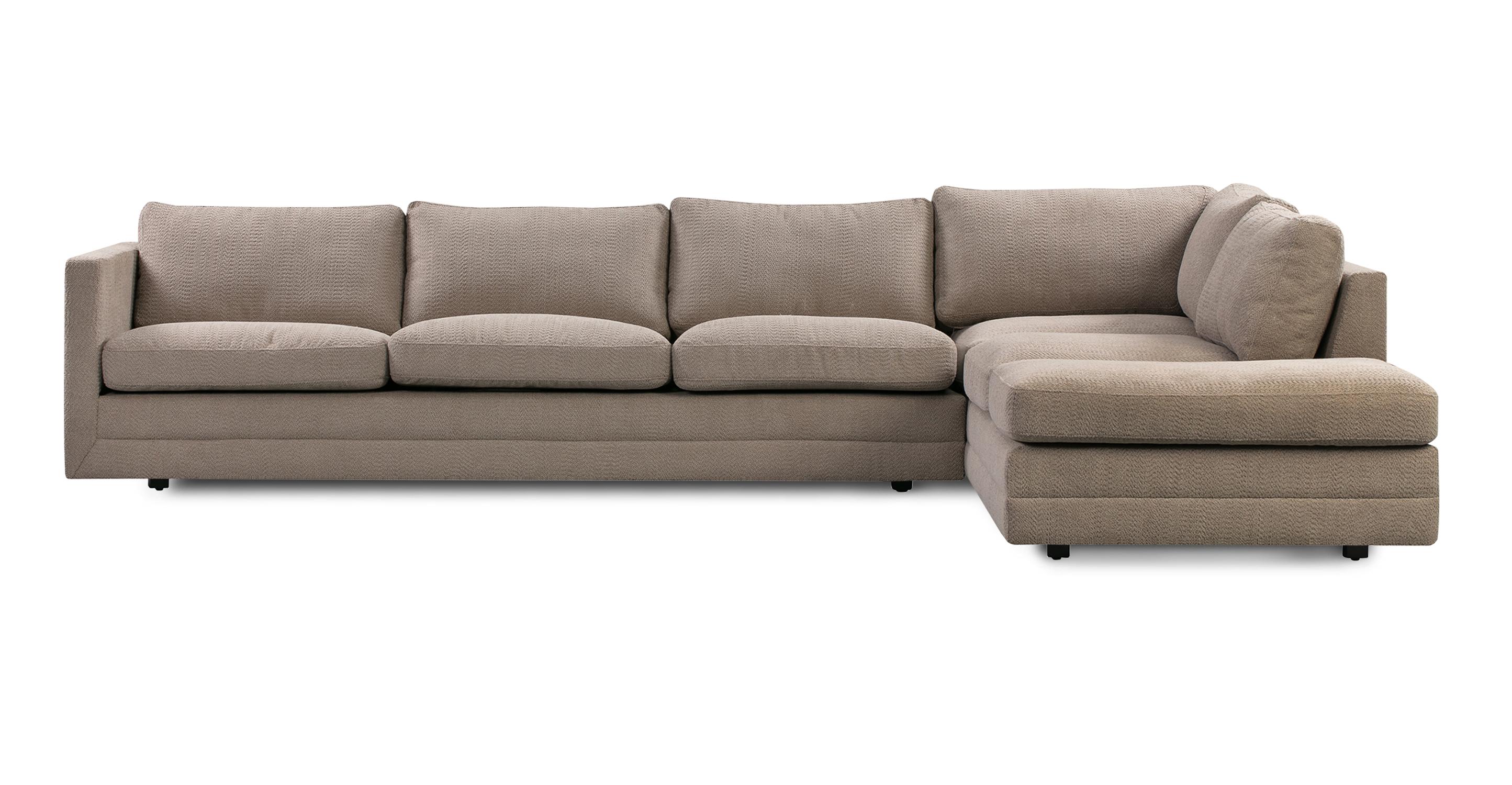 "Manhattan 129"" Fabric Sofa Sectional Right, Mushroom Atomic"