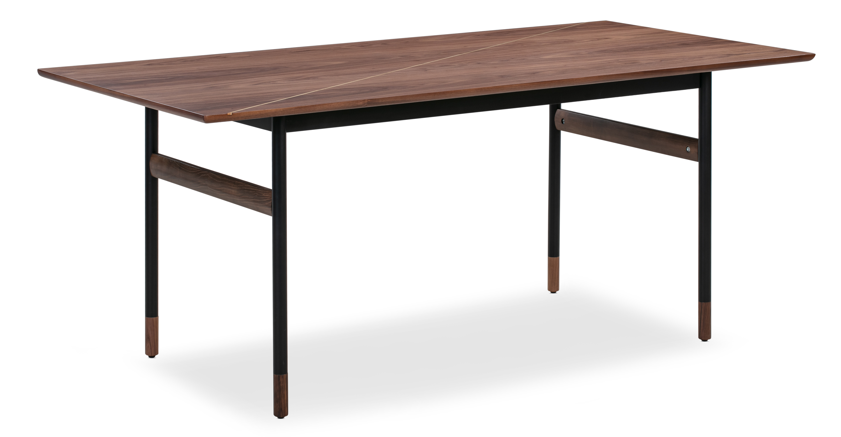 "Urbane 70"" Dining Table, Walnut Brass Inlay"